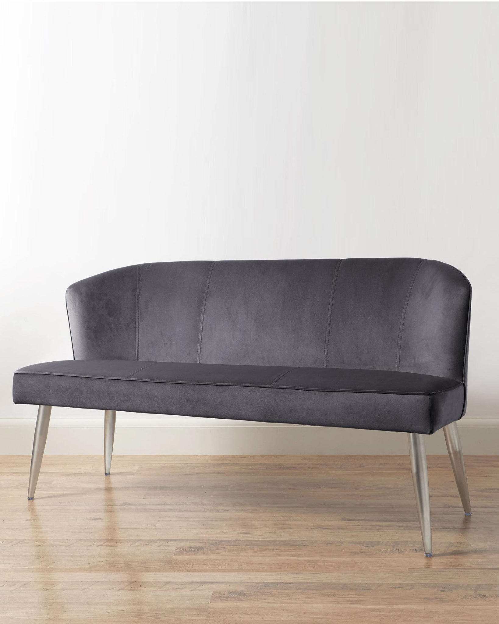 Mellow Dark Grey Velvet 3 Seater Bench With Backrest