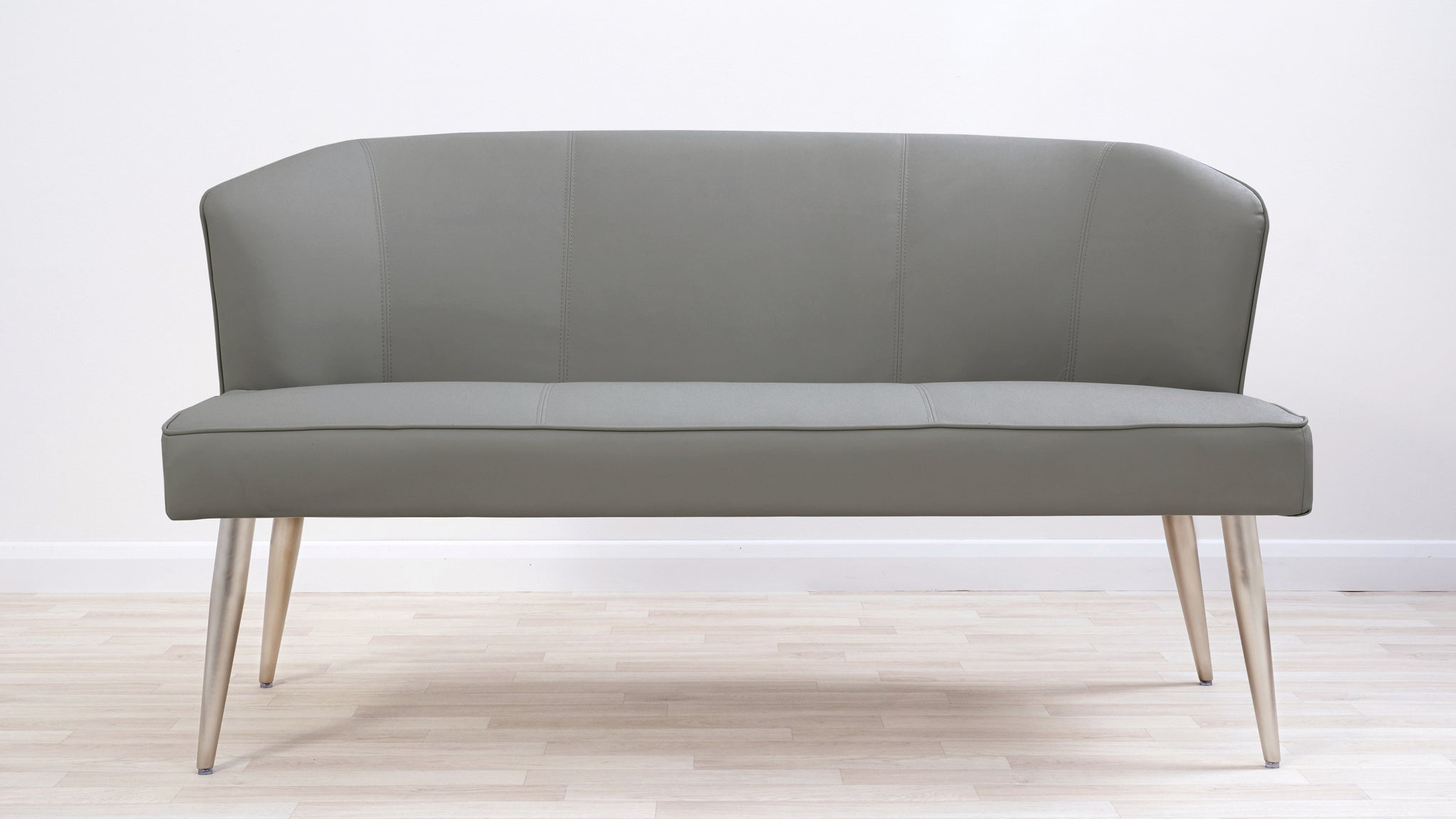 Mellow Grey Faux Leather Stainless Steel 3 Seater Dining Bench With Backrest