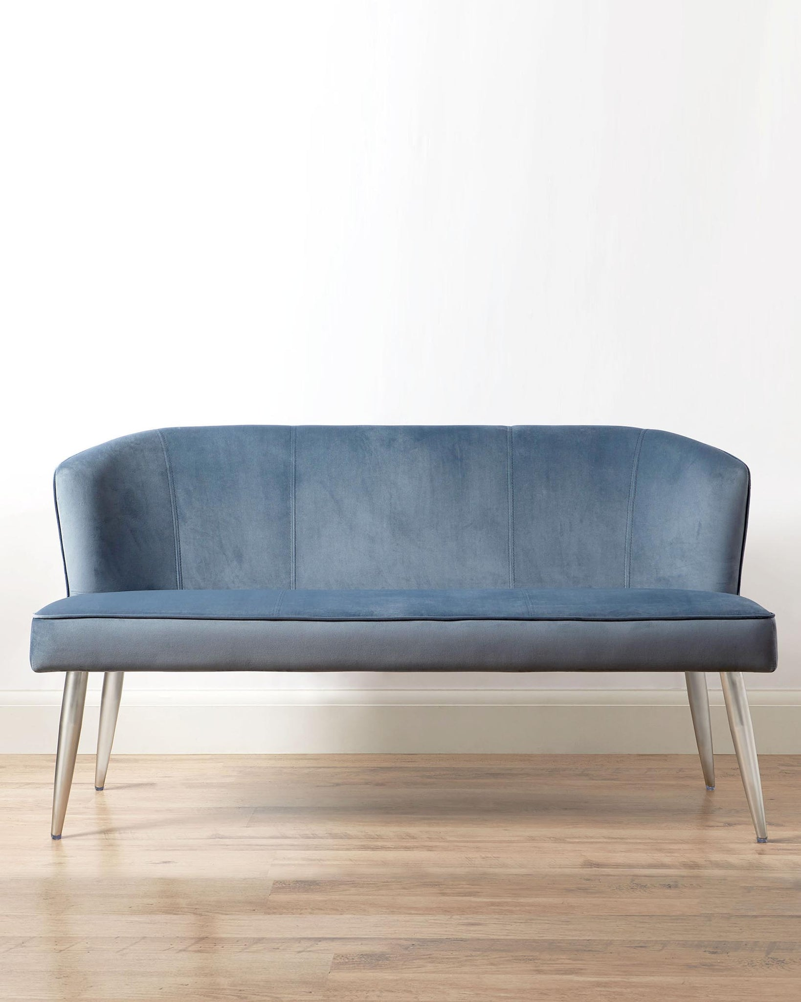 Mellow Blue Grey Velvet 3 Seater Bench With Backrest