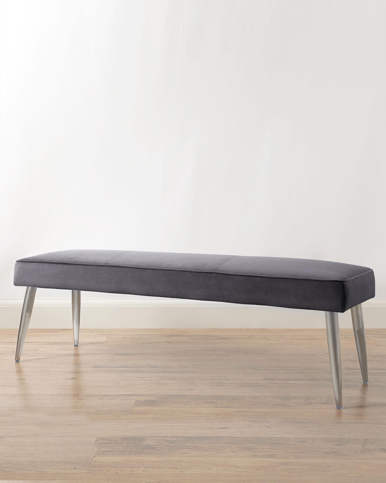 Mellow Dark Grey Velvet 3 Seater Bench Without Backrest