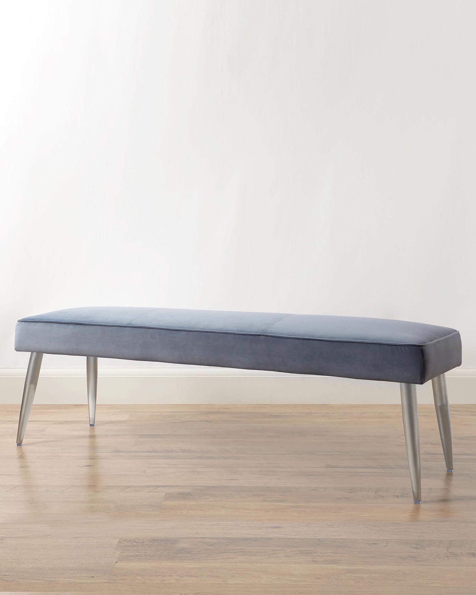Mellow Blue Grey Velvet 3 Seater Bench Without Backrest