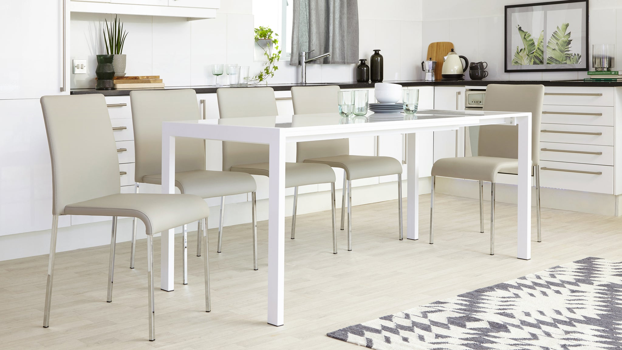 Metro White Gloss Extending Dining Table