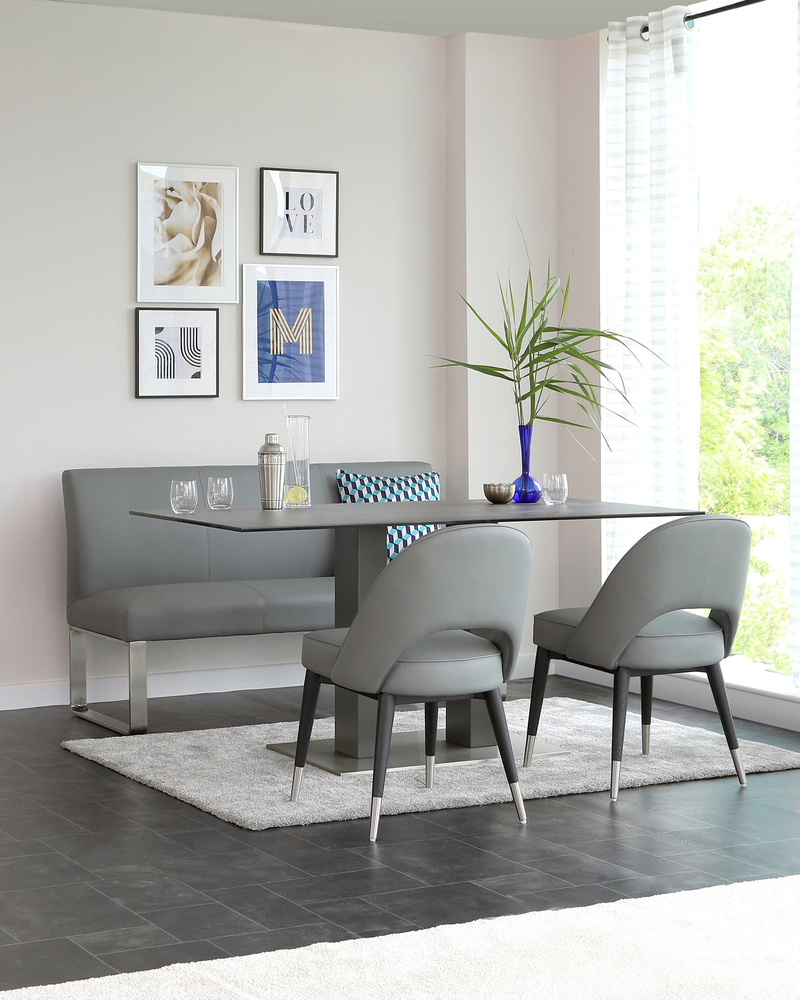 Loop 3 Seater Grey Faux Leather & Stainless Steel Bench With Backrest