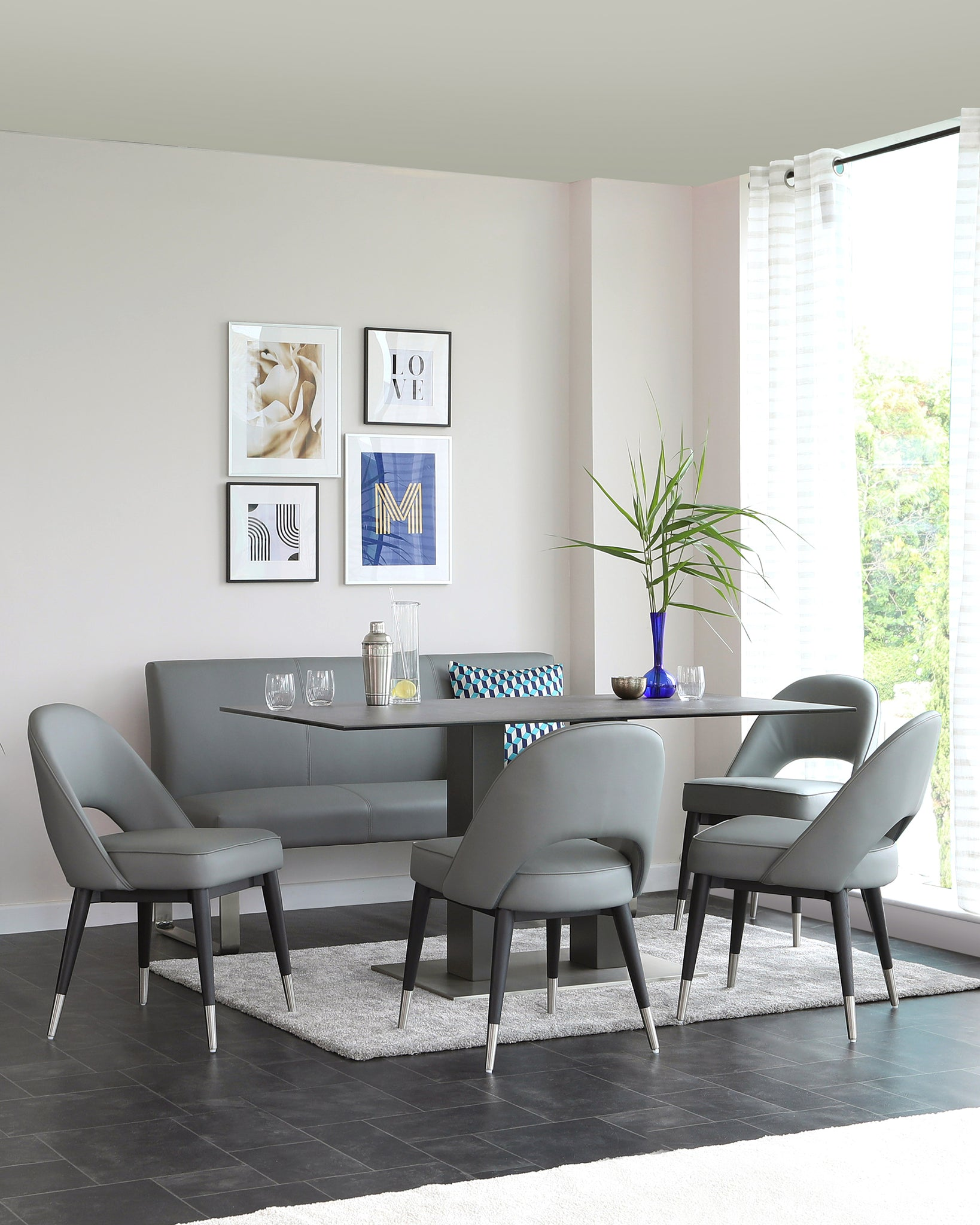 Mia Grey Ceramic Table With Loop Dining Bench And Clover Chair Set