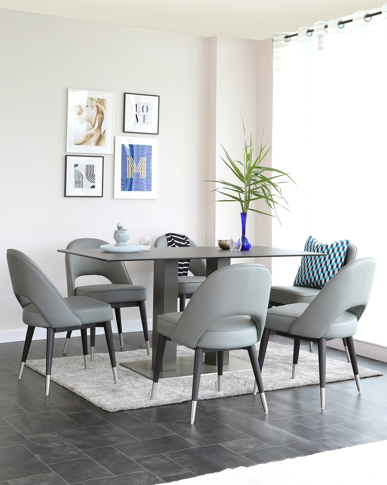 Mia Grey Ceramic Dining Table And Clover 6 Seater Dining Set
