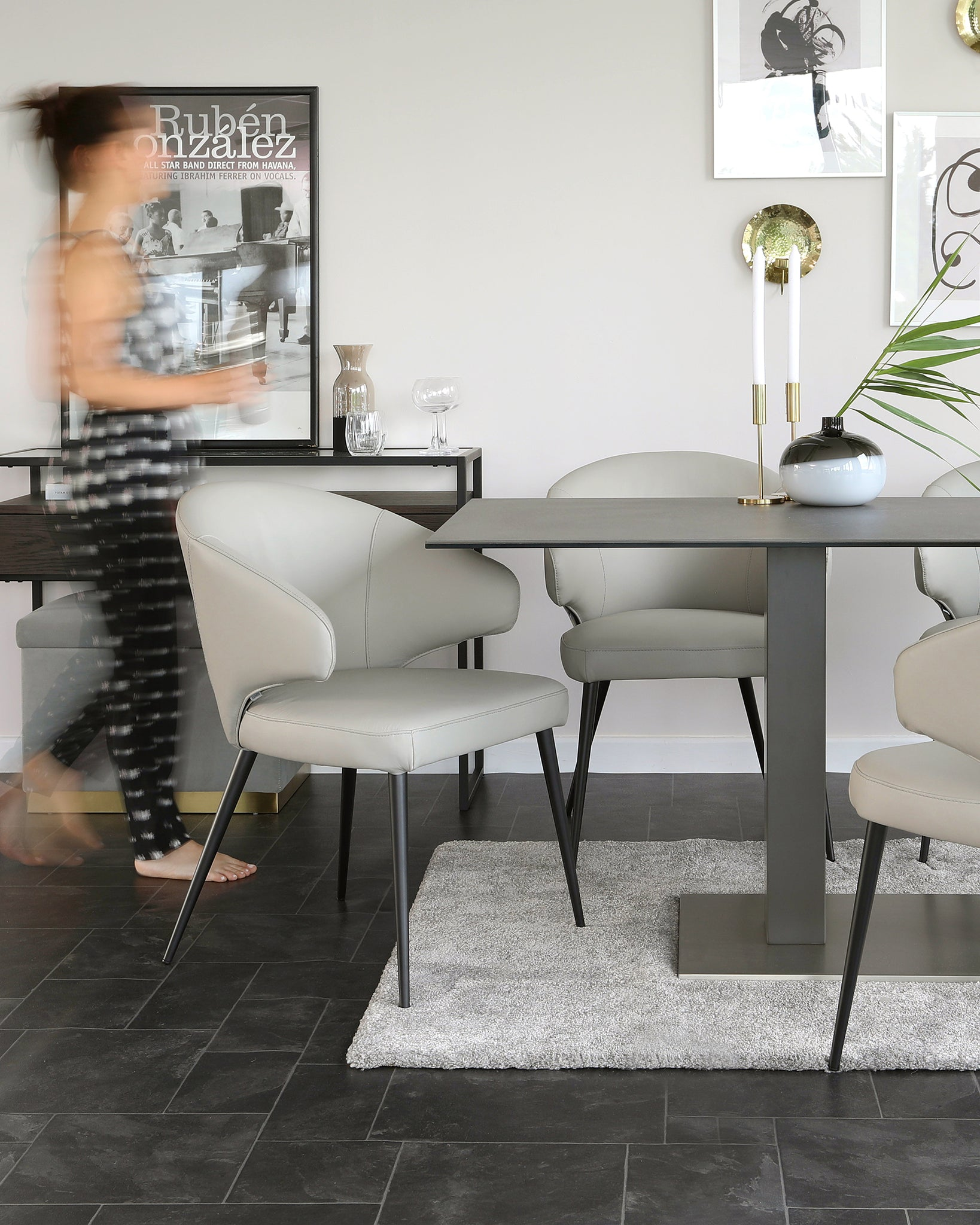 Mia Dark Ceramic Table And Landon Real Leather Dining Chair Set