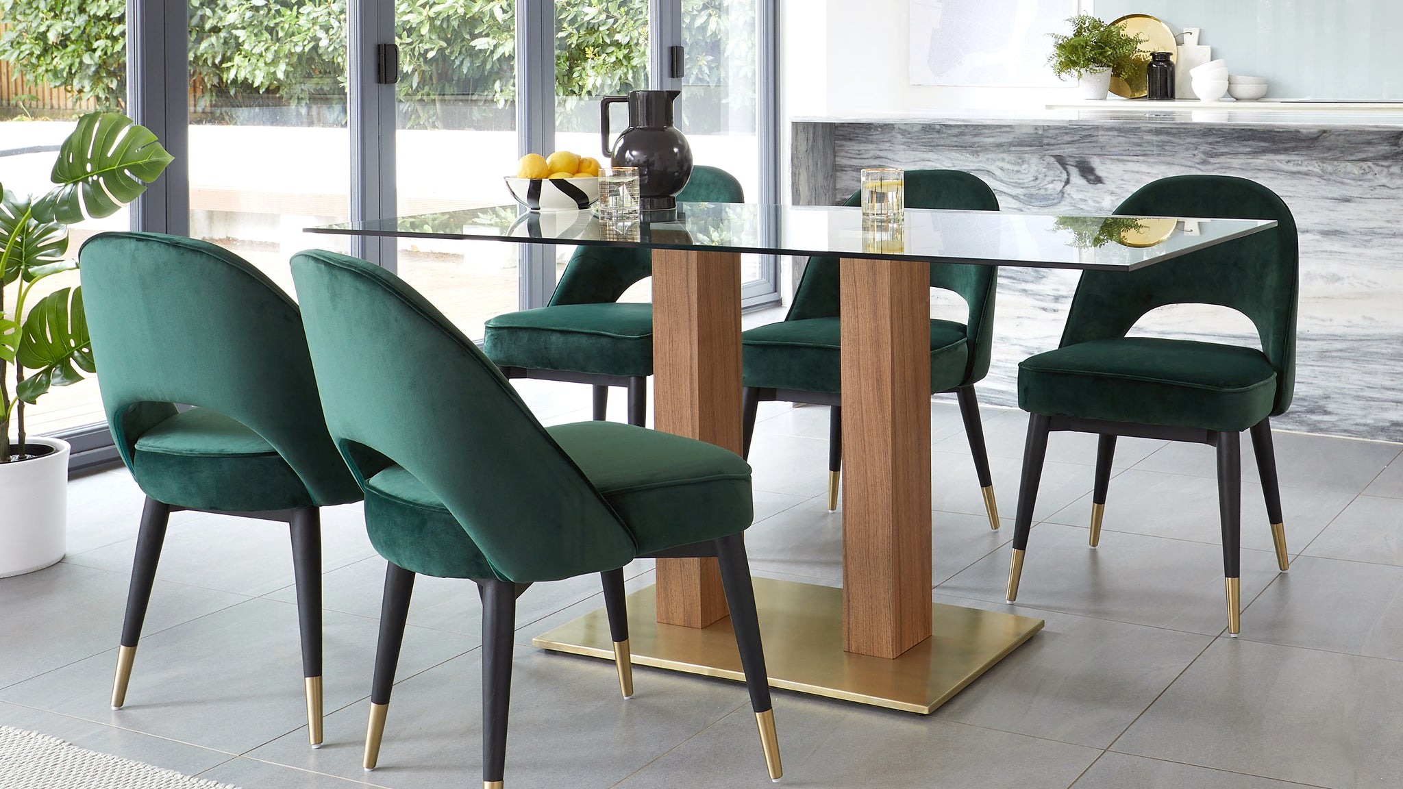 Mia Glass And Brass Dining Table With Clover Velvet Chairs Set