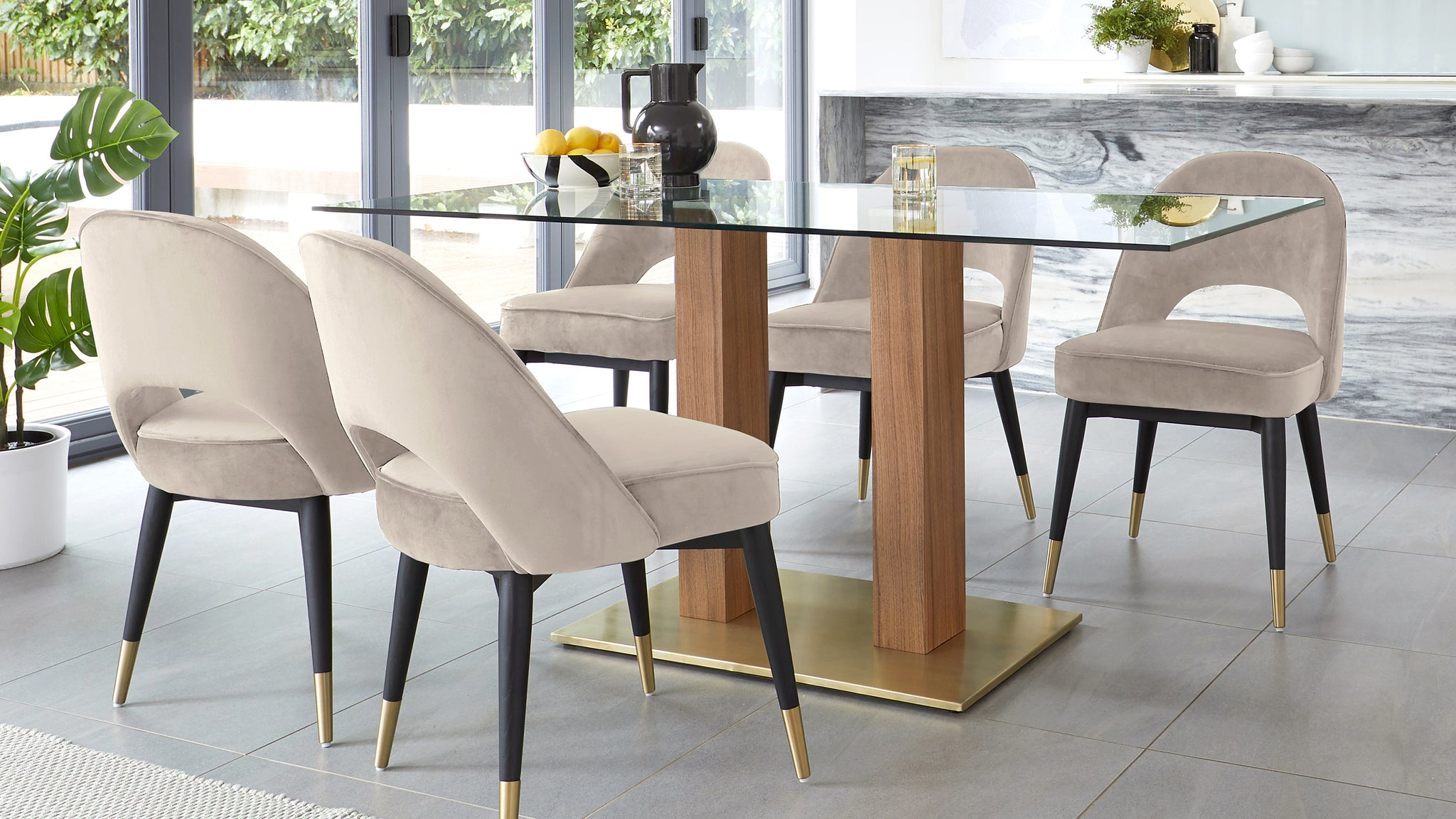 Mia Glass Dining Table With Clover Champagne 6 Seater Set