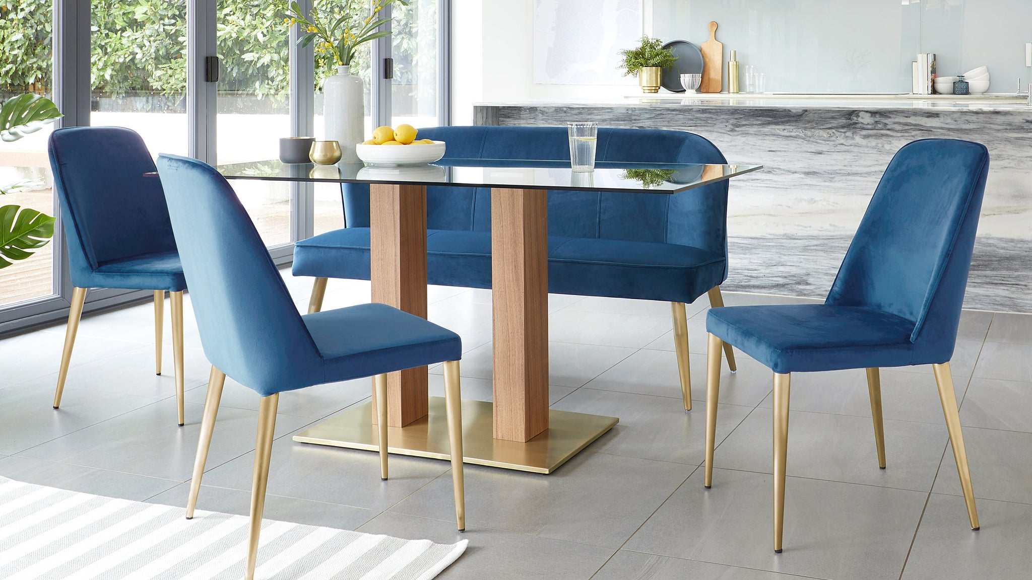 Mia Glass Table And Mellow Sapphire Blue Velvet 6-8 Seater Dining Set