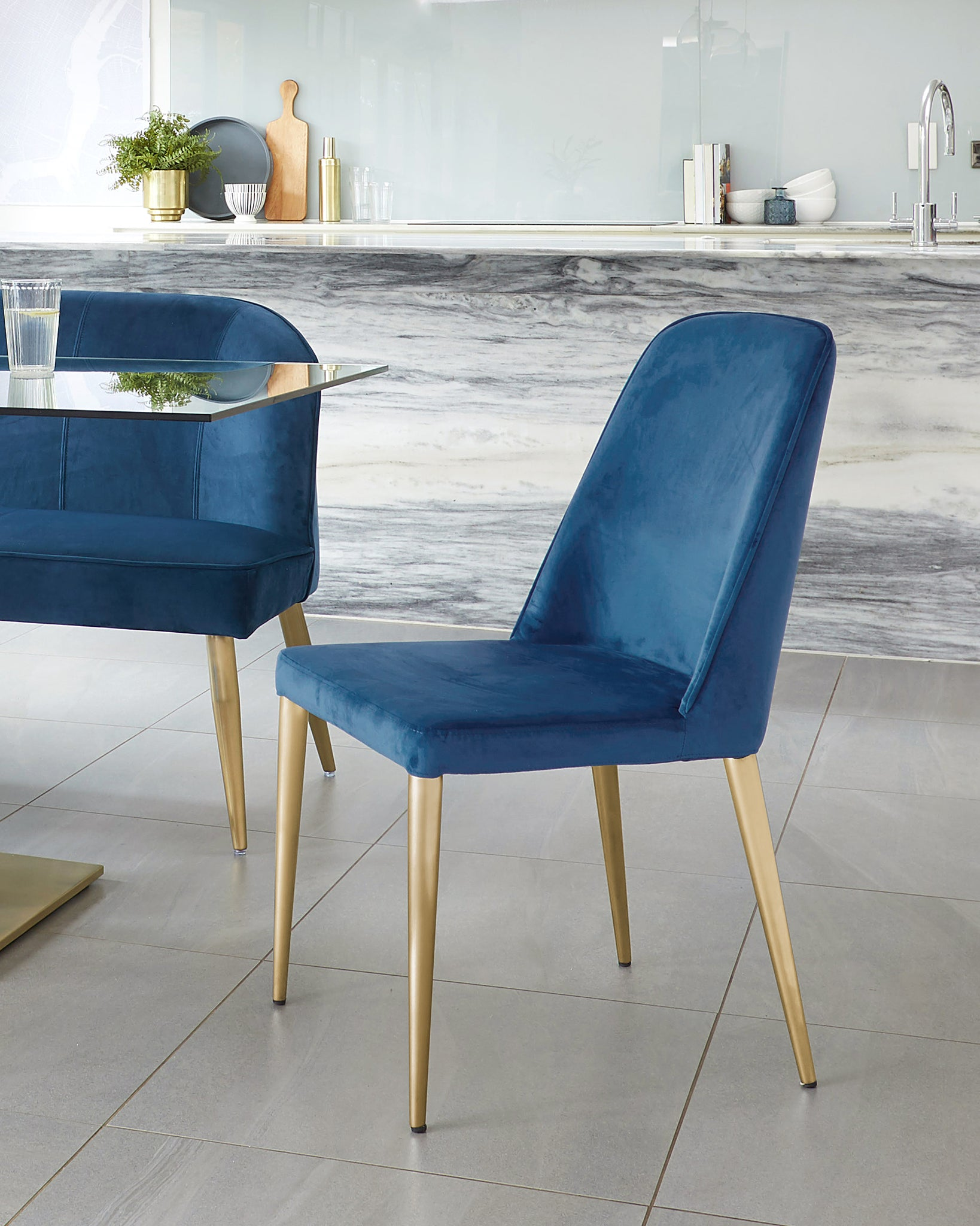 Bay Dark Blue Velvet And Brushed Brass Chair - Set Of 2