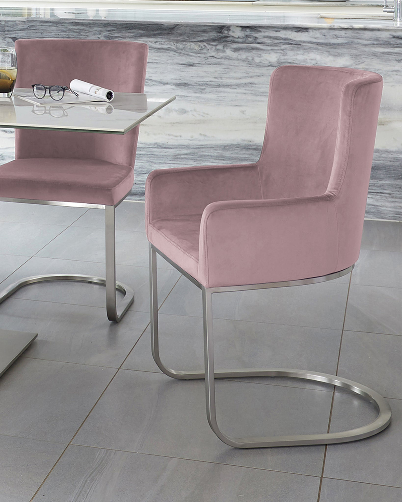 Form Blush Pink Velvet And Brushed Steel Cantilever Dining Armchair  - Set Of 2