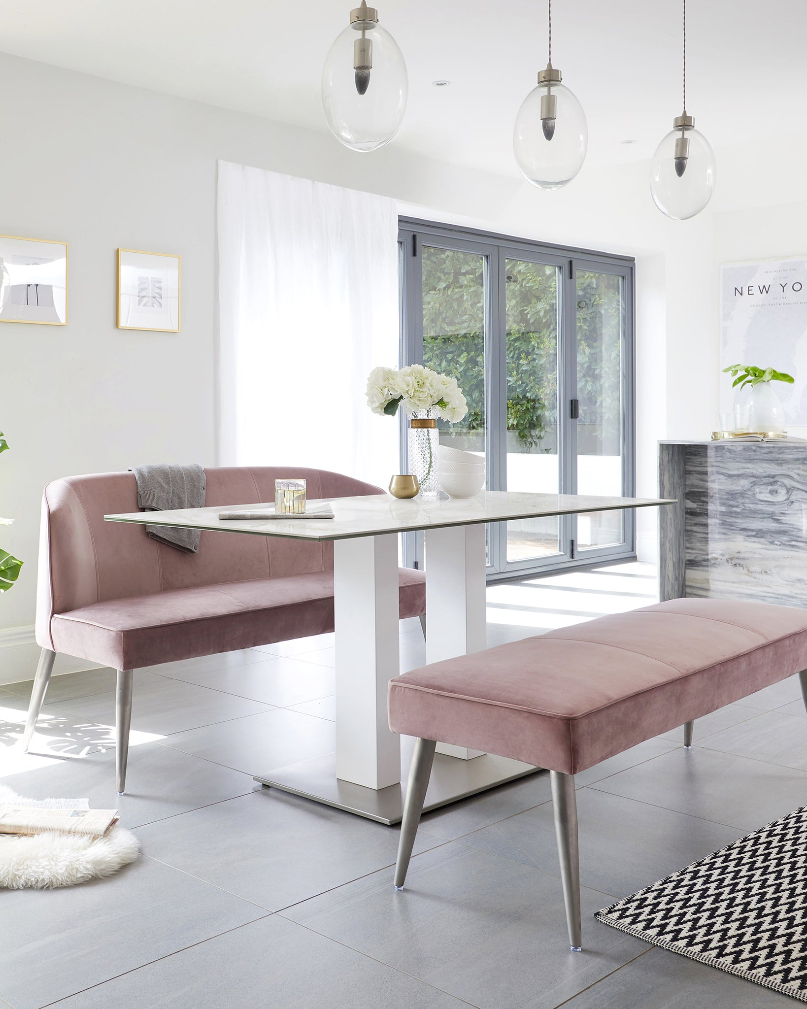 Mia Ceramic Marble Dining Table And Mellow Blush Pink Bench Set