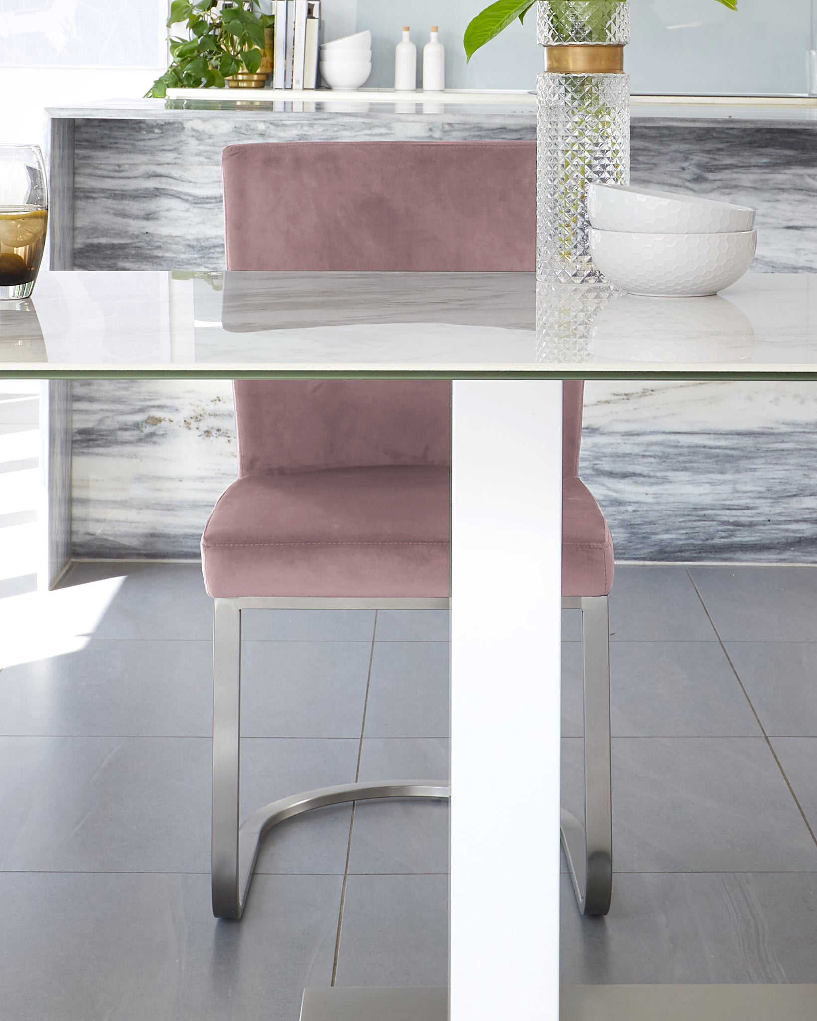 Mia Ceramic Dining Table With Form Blush Pink Velvet 6 Seater Dining Set