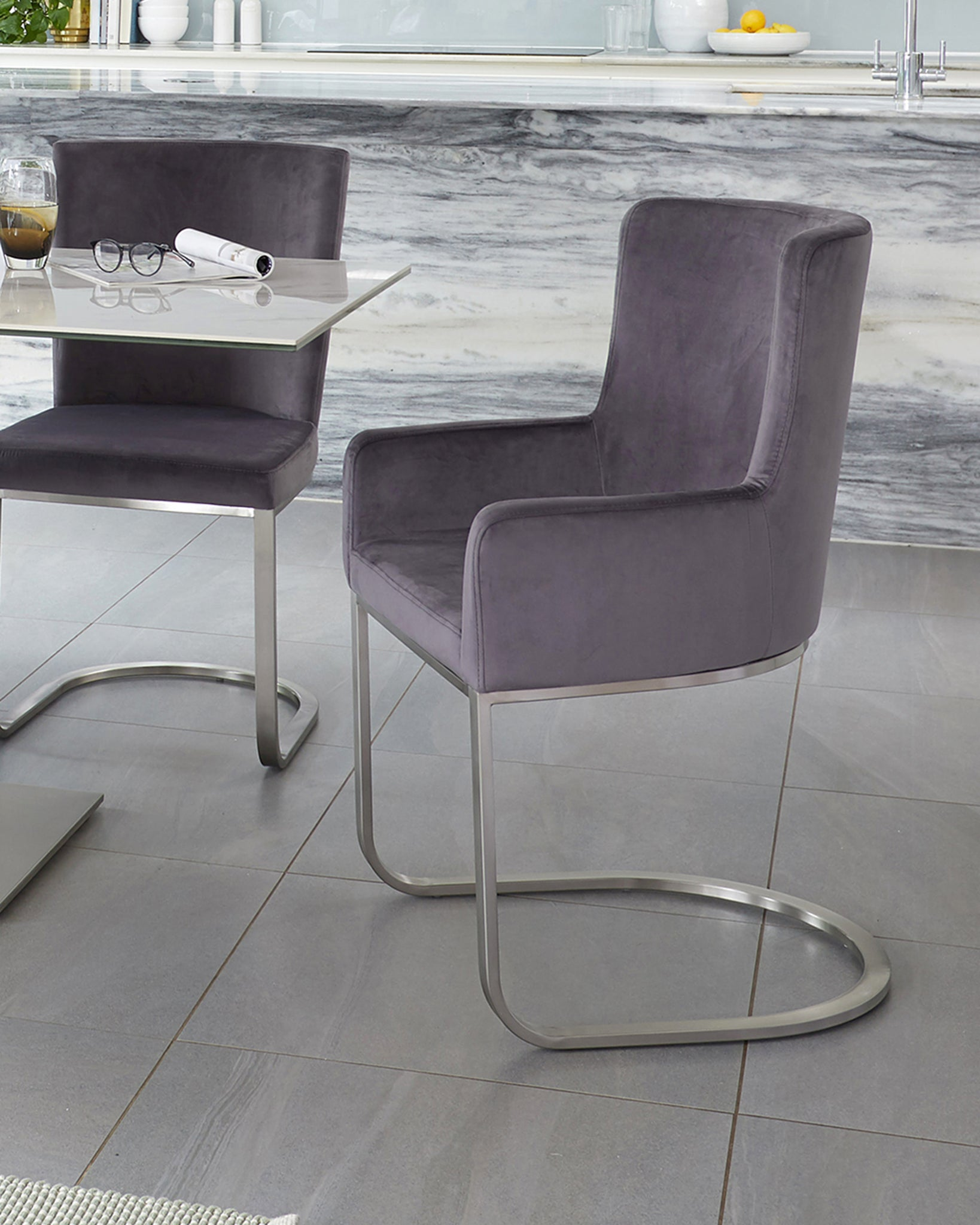Form Dark Grey Velvet And Brushed Steel Cantilever Dining Armchair - Set Of 2