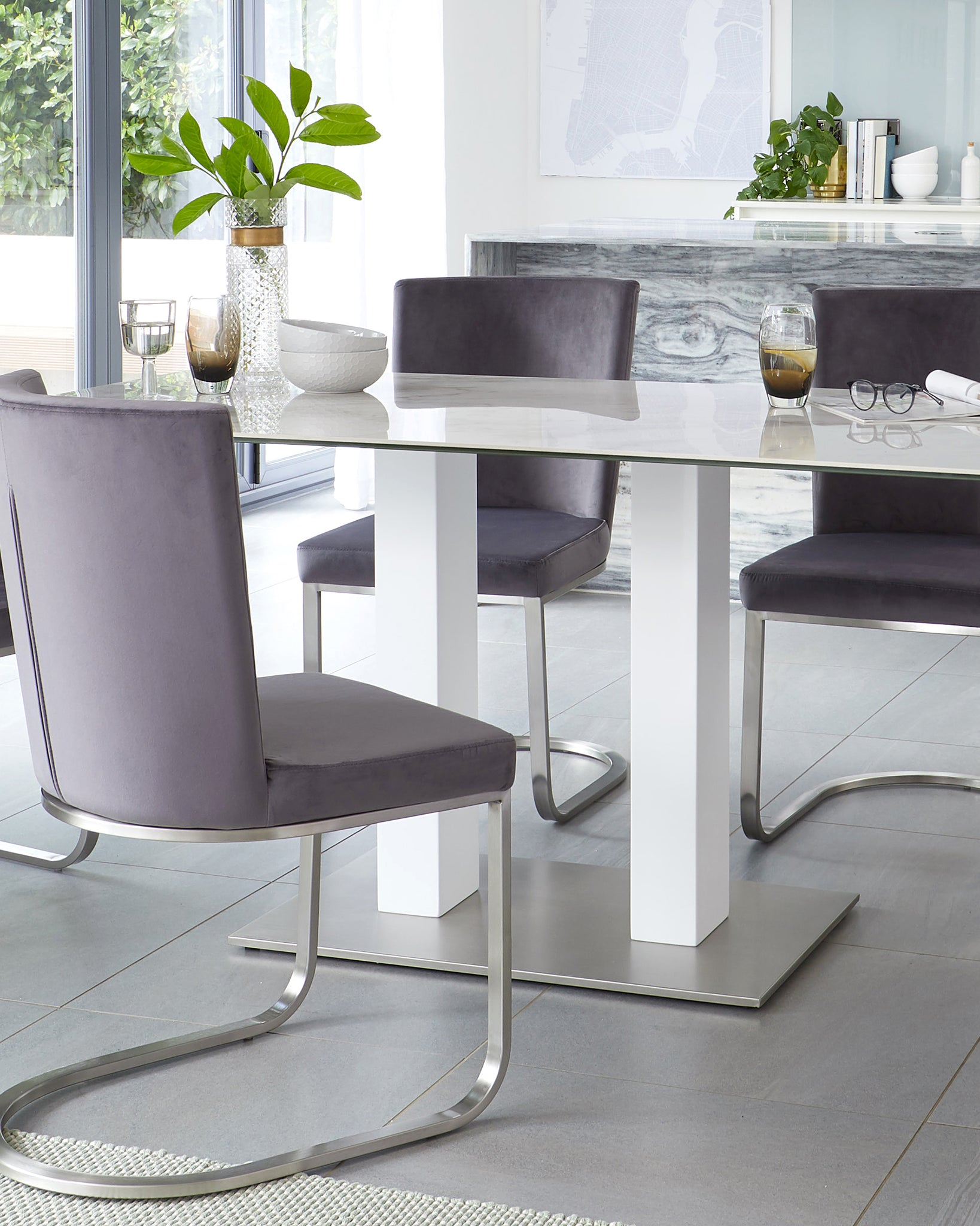 Mia Ceramic Marble Dining Table And Form Velvet 6 Seater Dining Set
