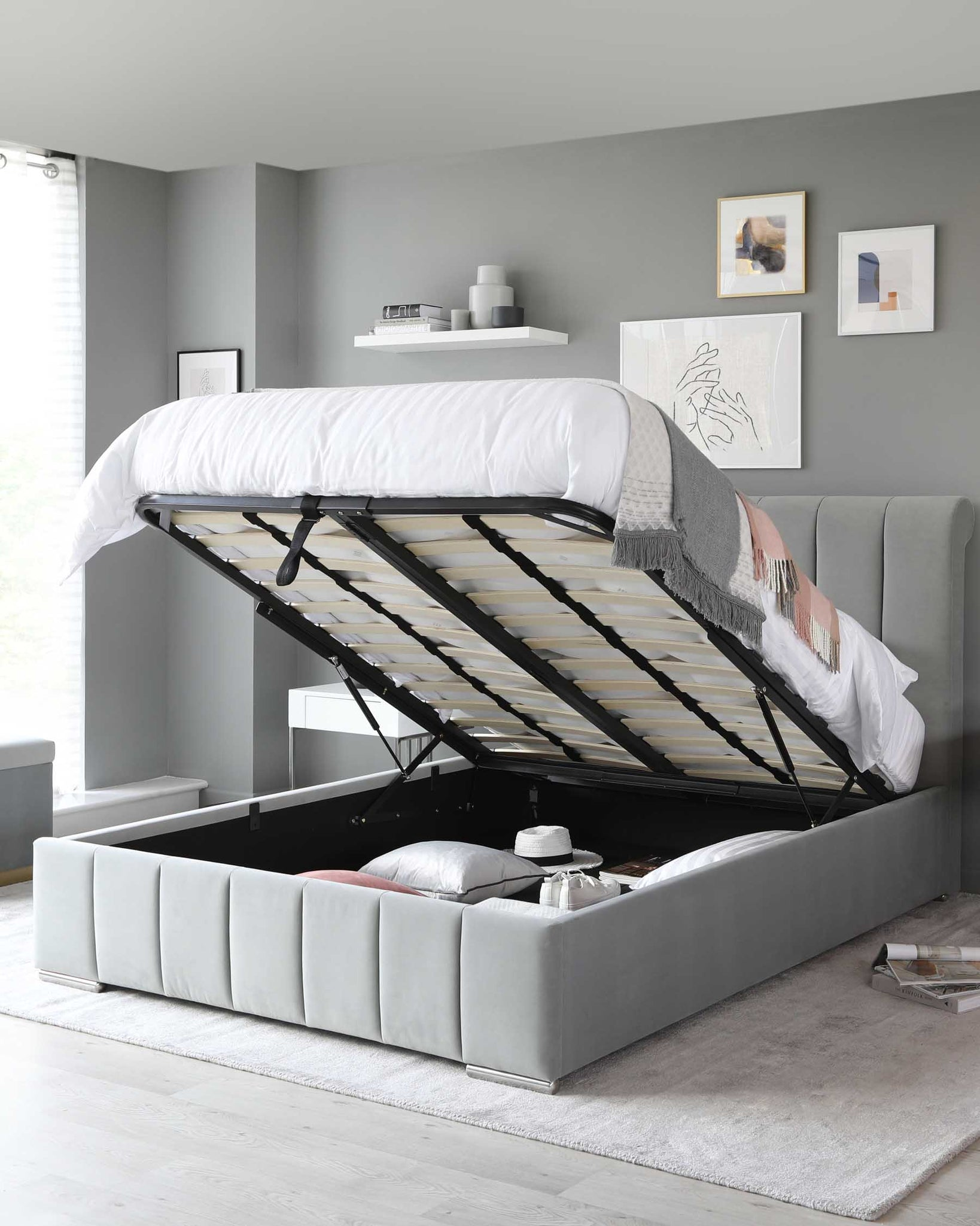Mila Light Grey Velvet Double Bed with Storage