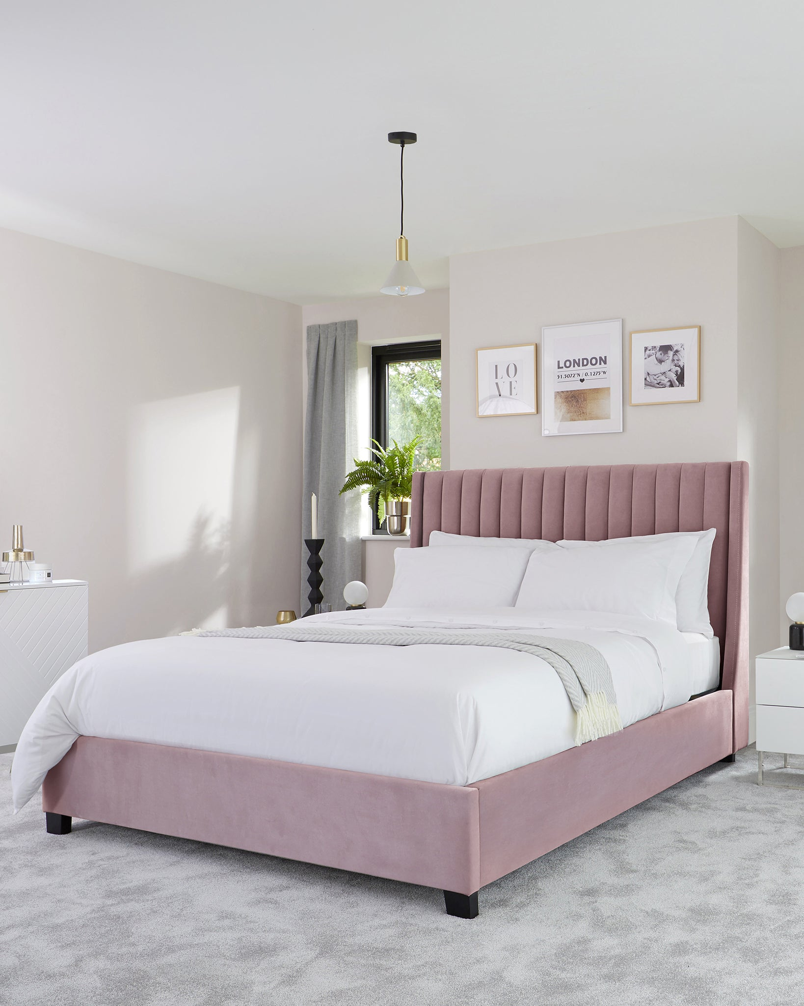 Amalfi Blush Pink Velvet King Size Bed With Storage