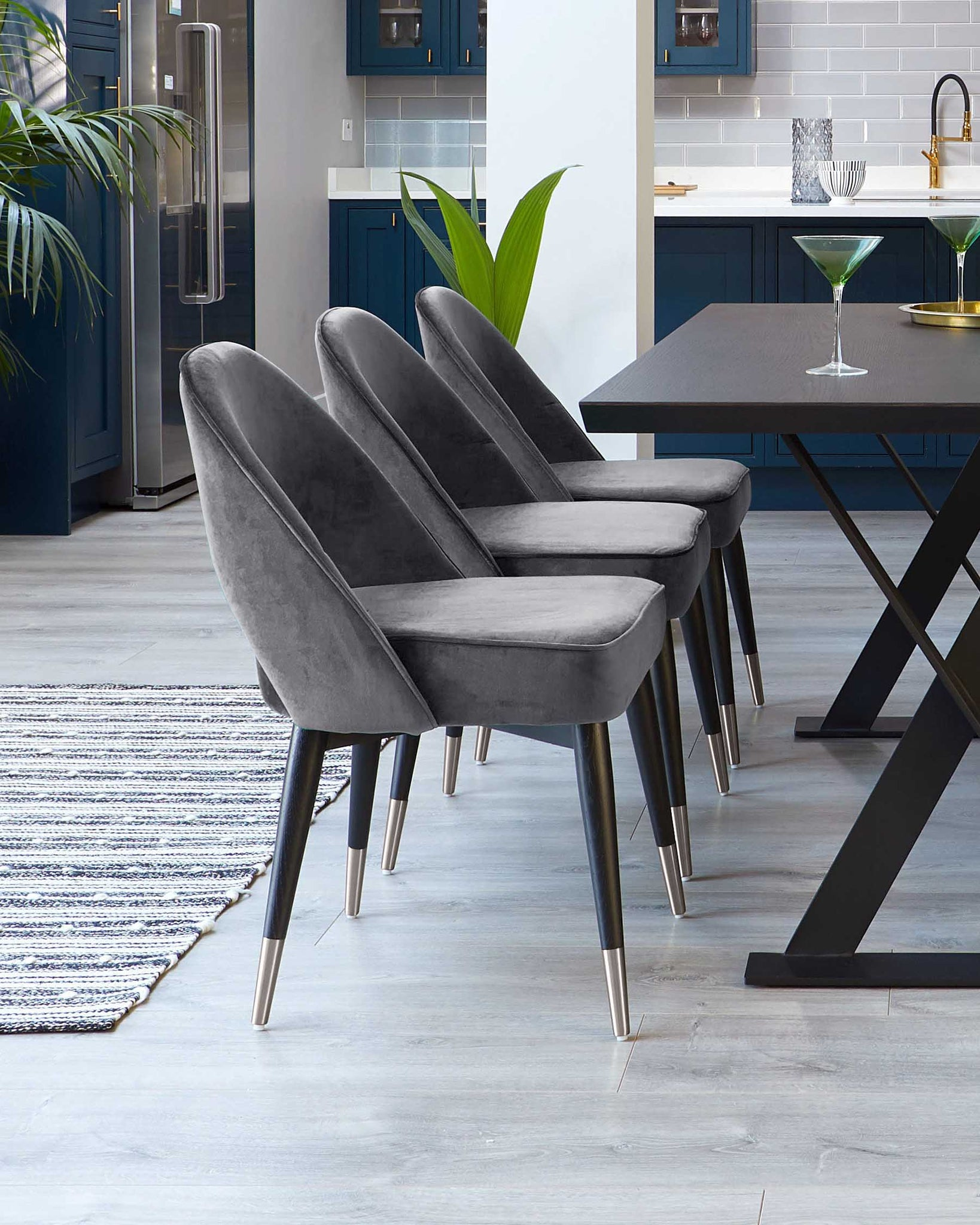 Clover Dark Grey Velvet Dining Chair With Stainless Steel Caps - Set Of 2