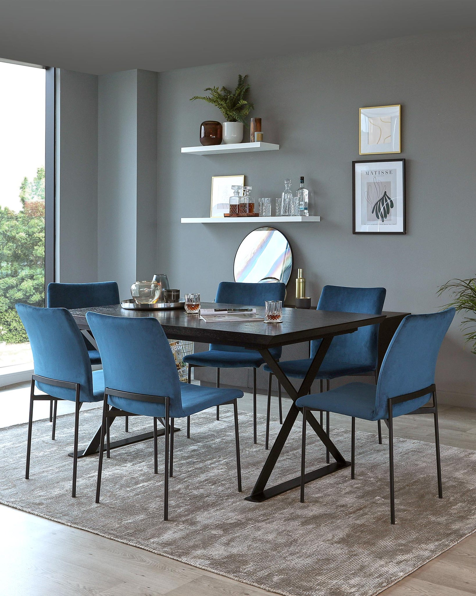 Nala Dark Oak and Leah Velvet Dining Set