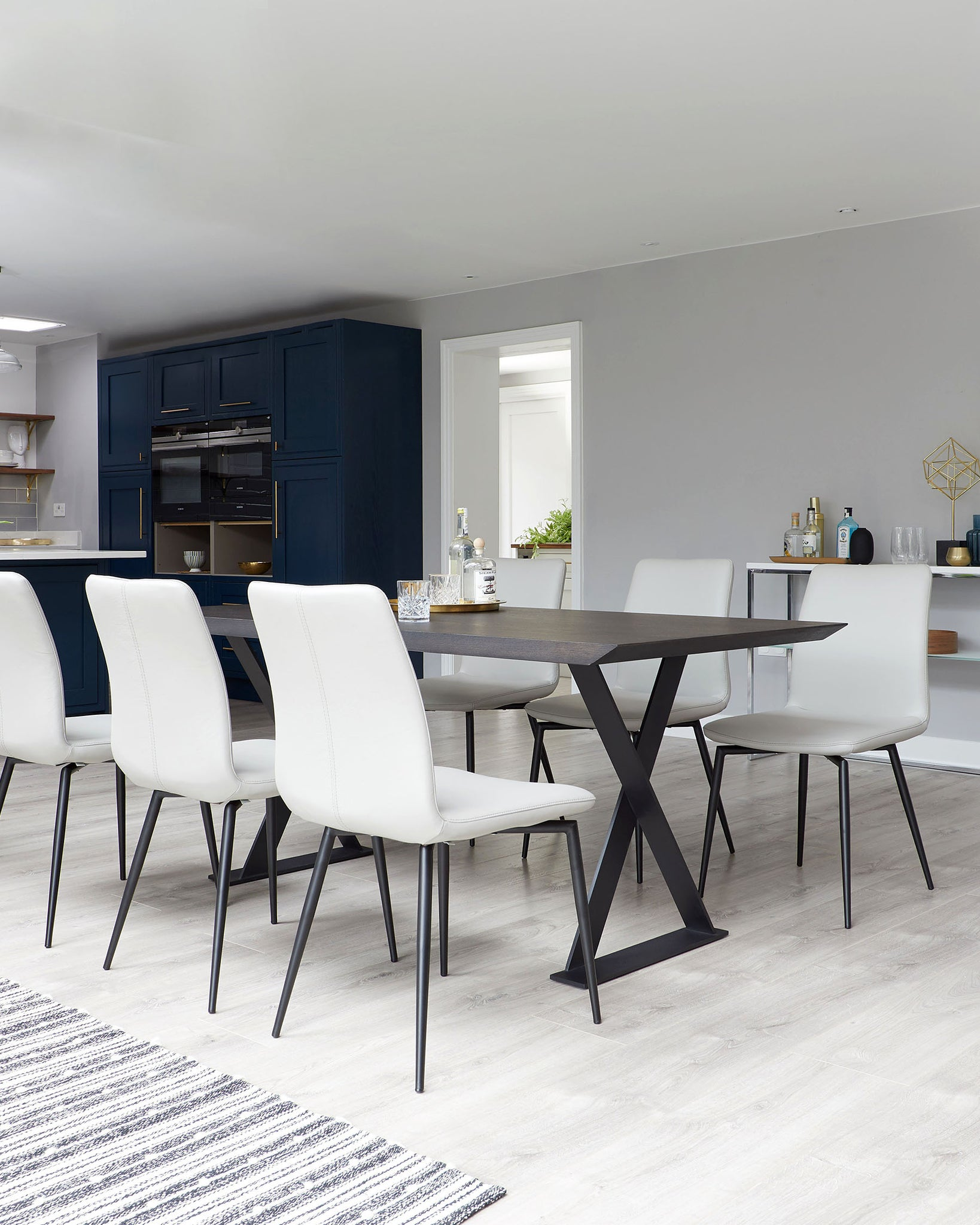 Nala Dark Oak And Bella Real Leather Dining Set