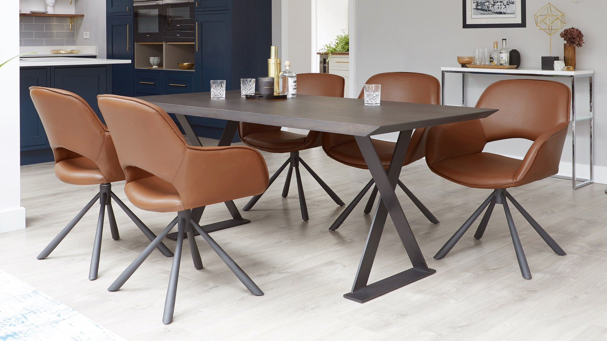 Nala Dark Oak And Marlow Faux Leather Dining Set