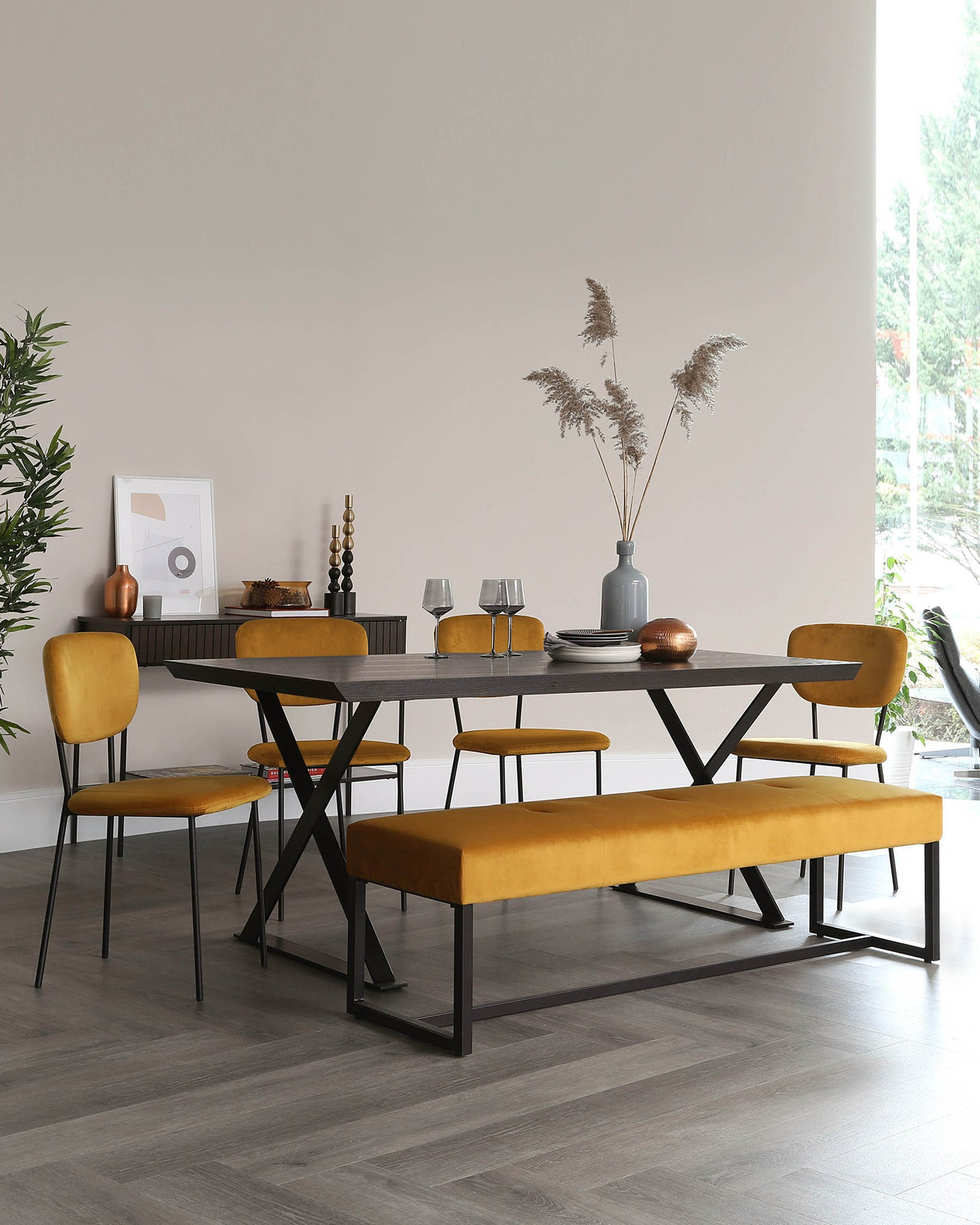 Nala and Otis Bench with Quinn Chairs Dining Set