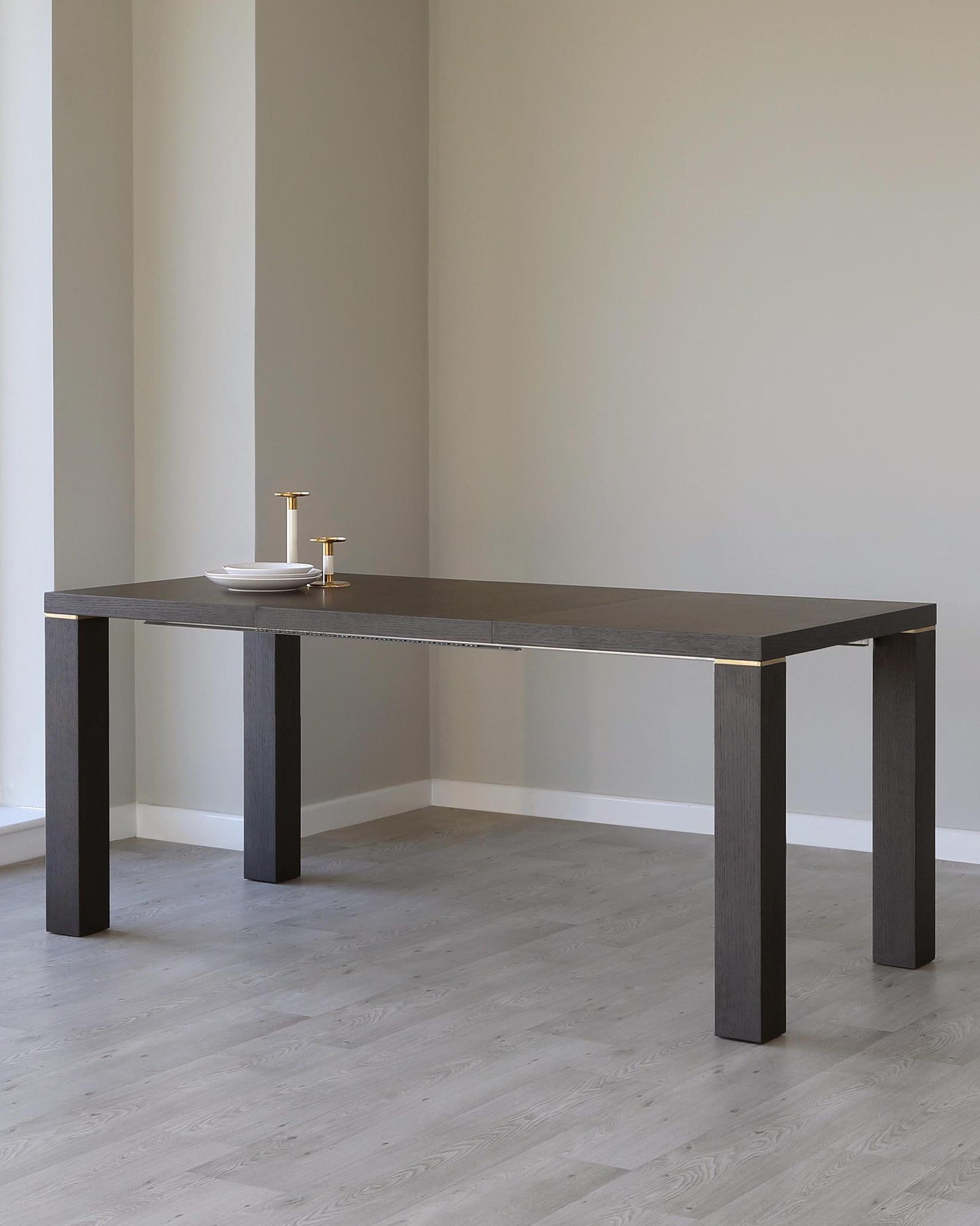 Nixon Dark Oak And Brass Extending Dining Table