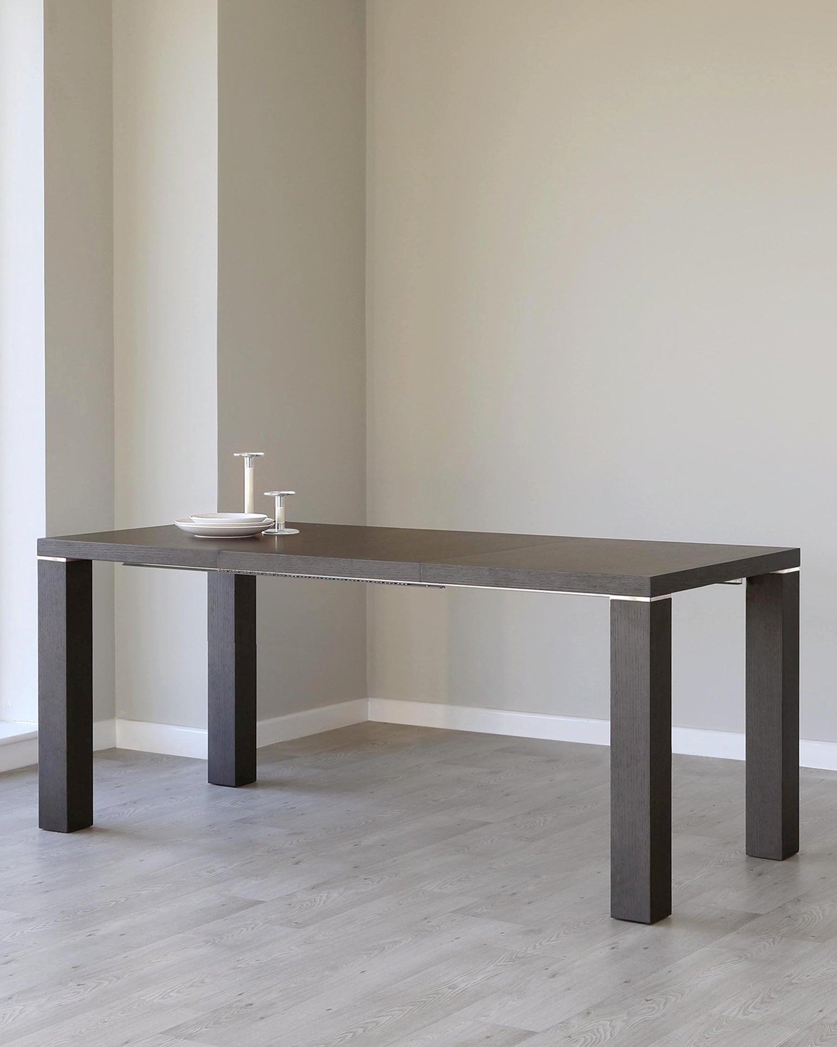 Nixon Dark Oak and Chrome Extending Dining Table