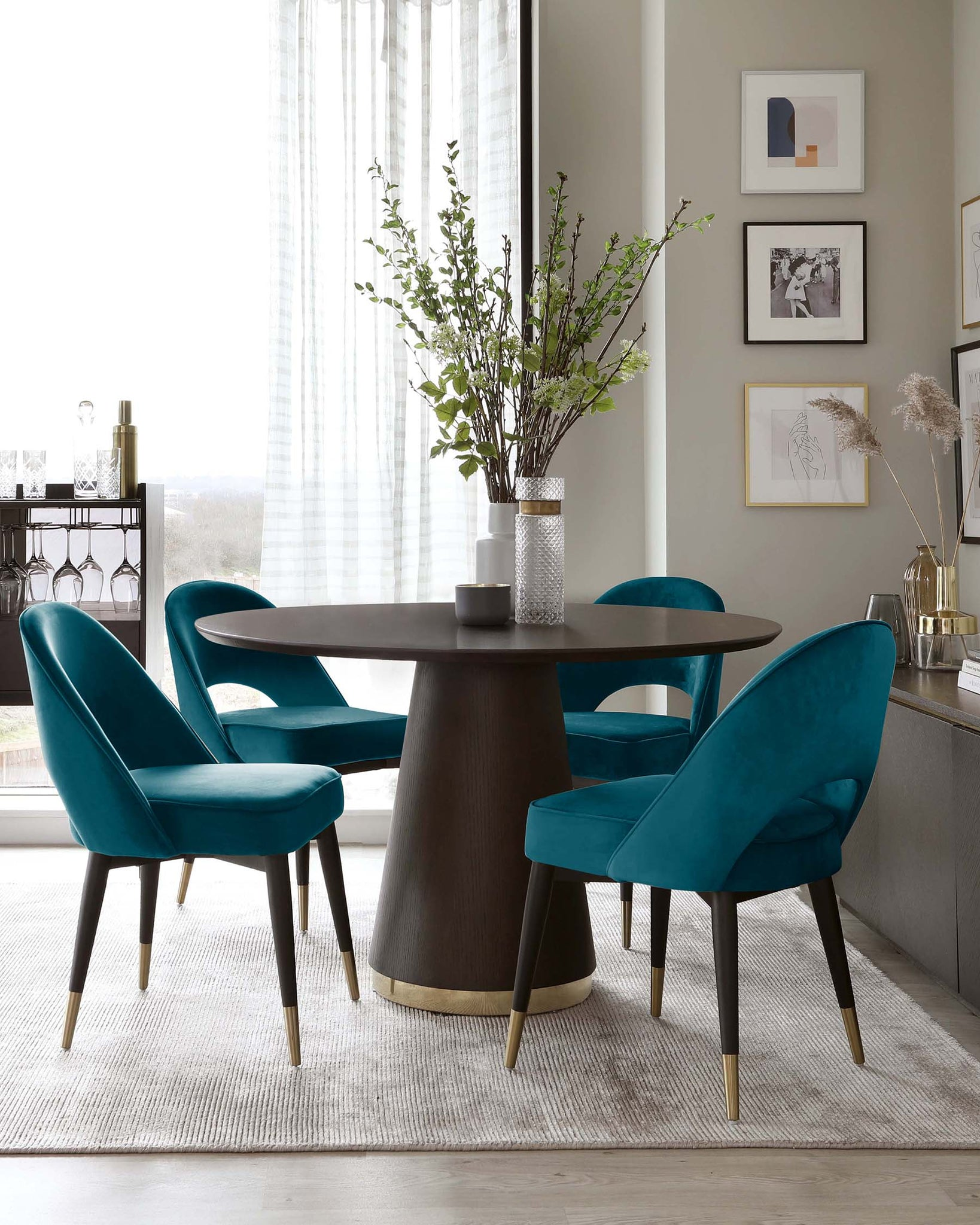 Nolan Brass Table and Clover Velvet Dining Chair Set