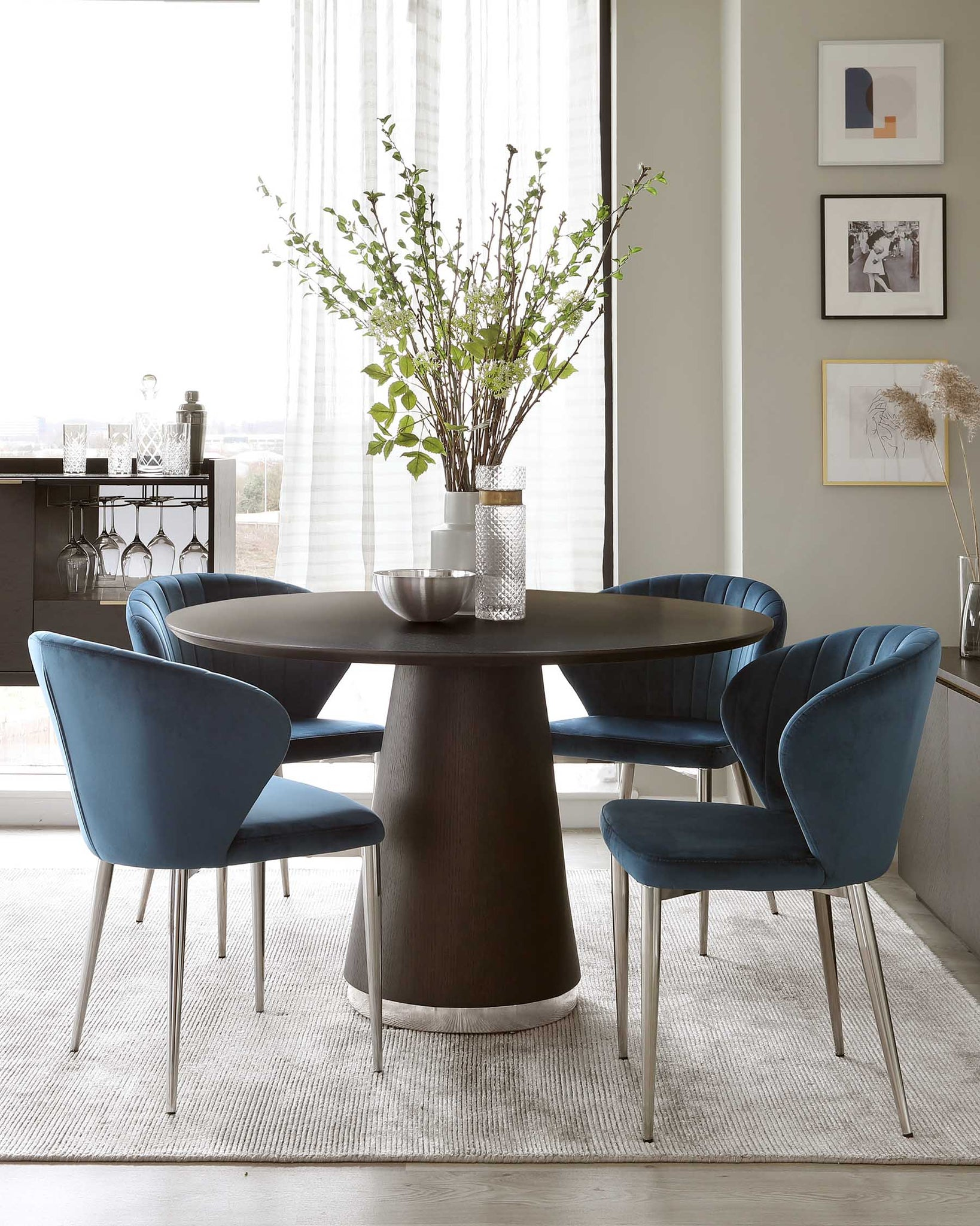 Nolan Dark Oak And Chrome Round Dining Table