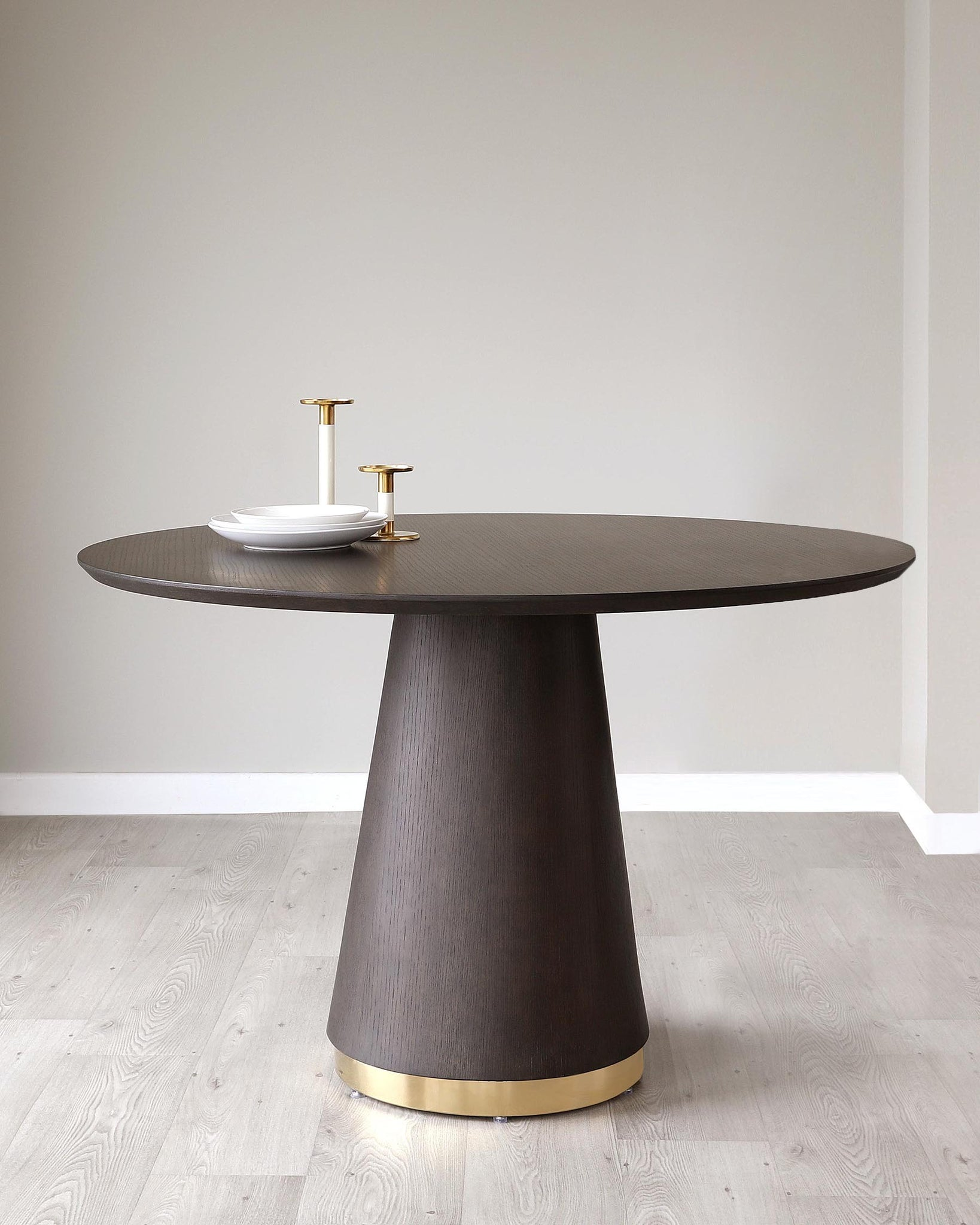 Nolan Dark Oak And Brushed Brass Round Dining Table