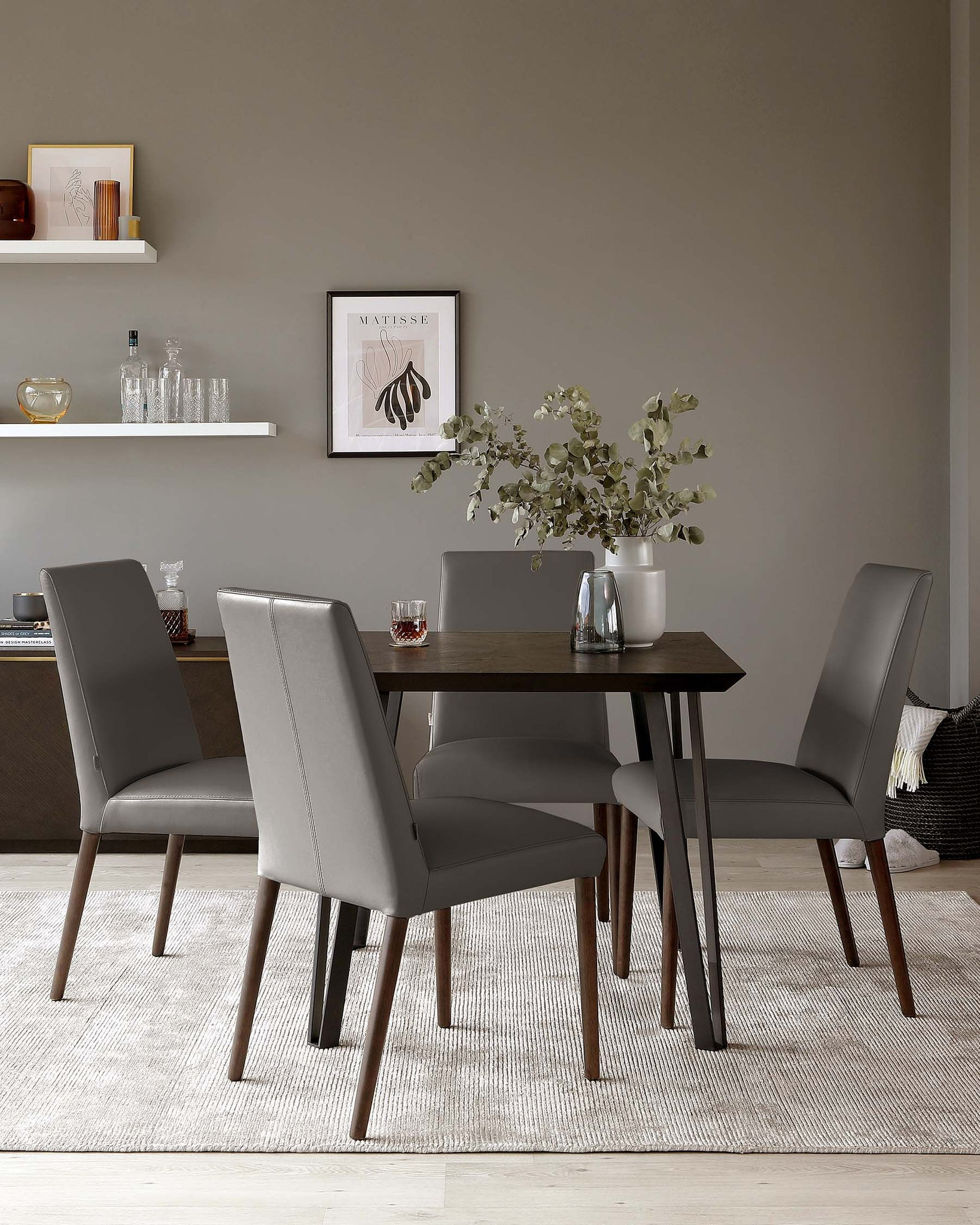 Mason Dark Grey Real Leather Dining Chair - Set Of 2