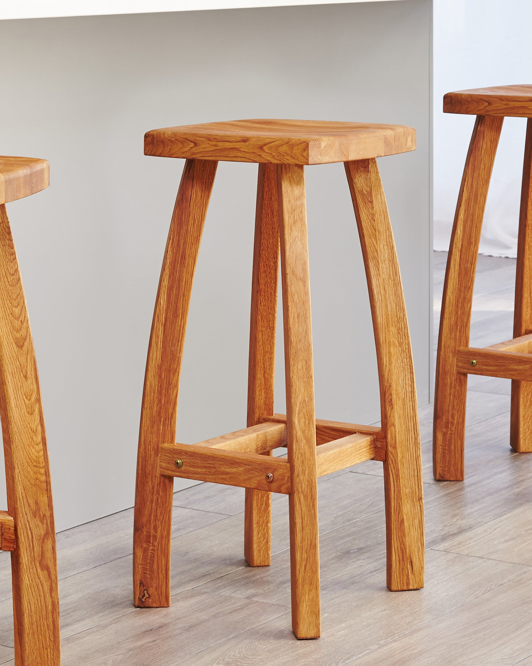 Picture of: Oak Bar Stools Weathered Solid Oak Bar Stools By Danetti