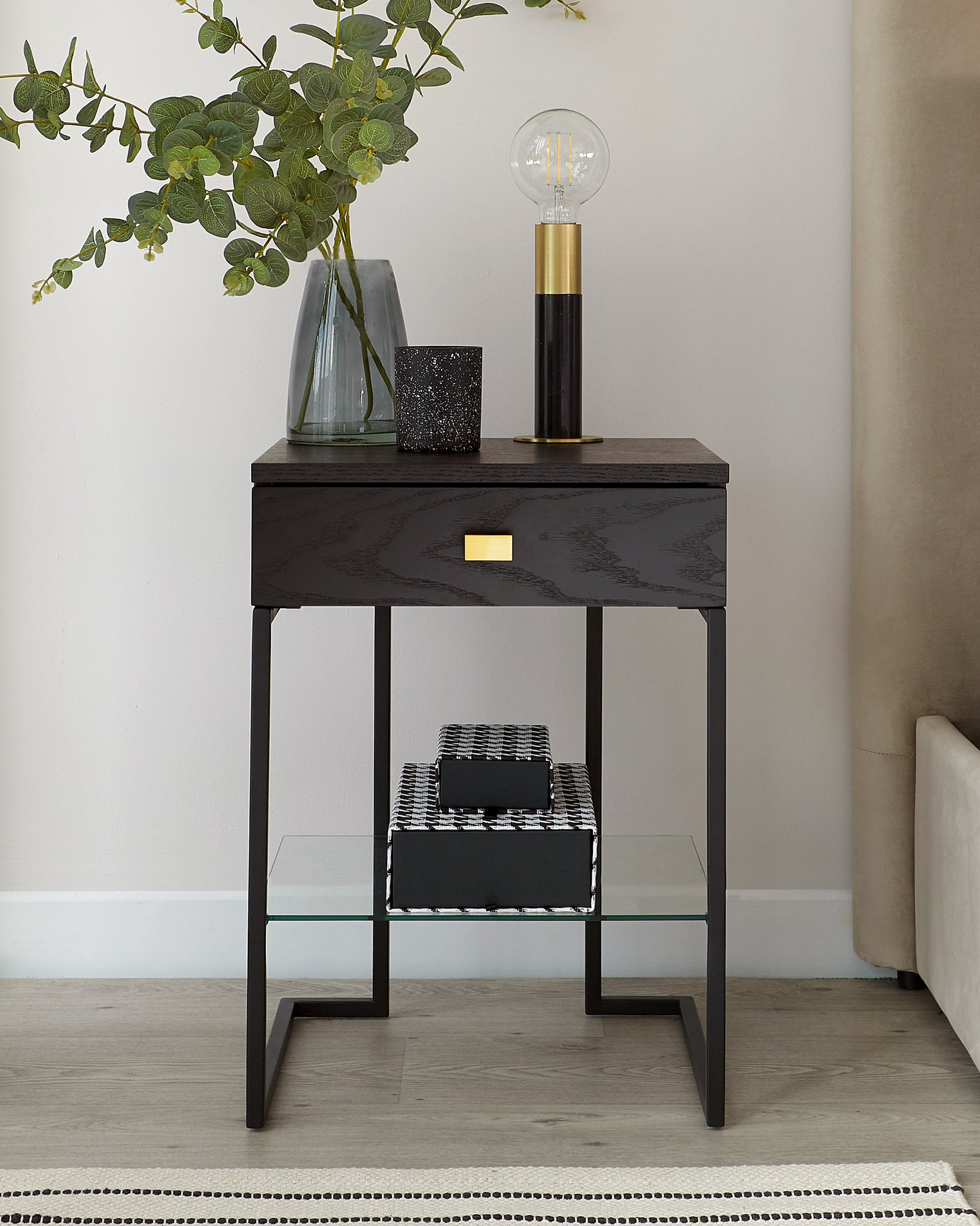 Odele Dark Wood Bedside Table