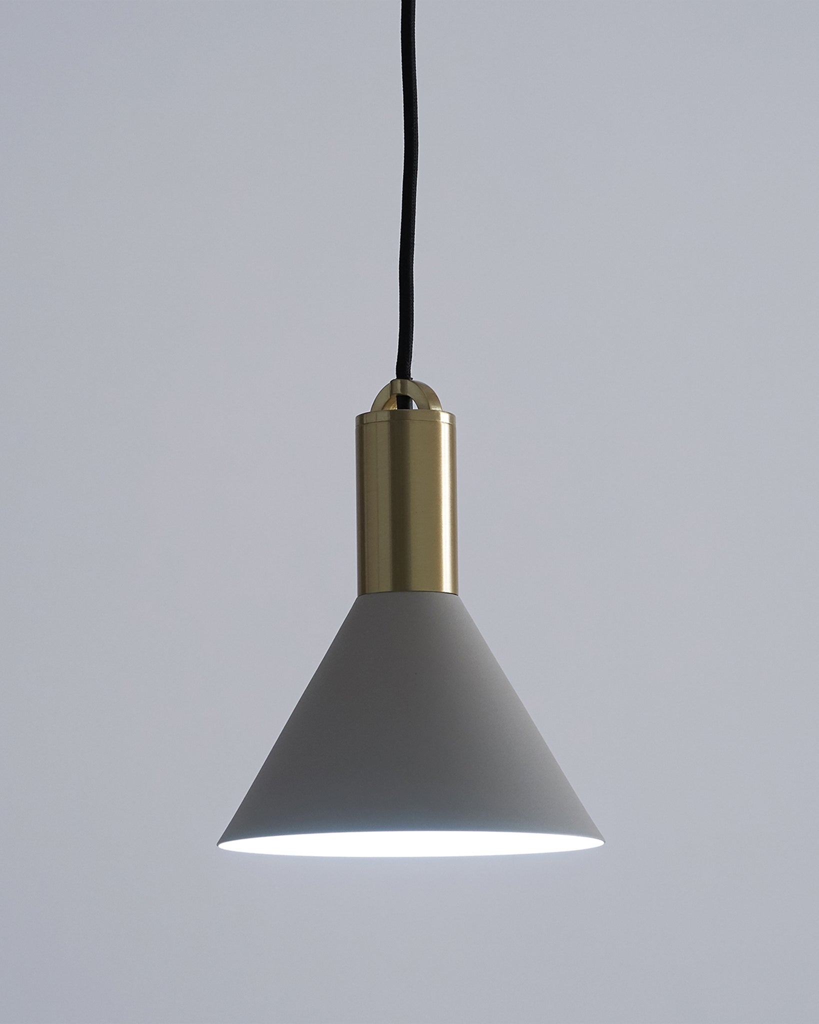 Olivia Light Grey Metal And Brushed Brass Pendant Light