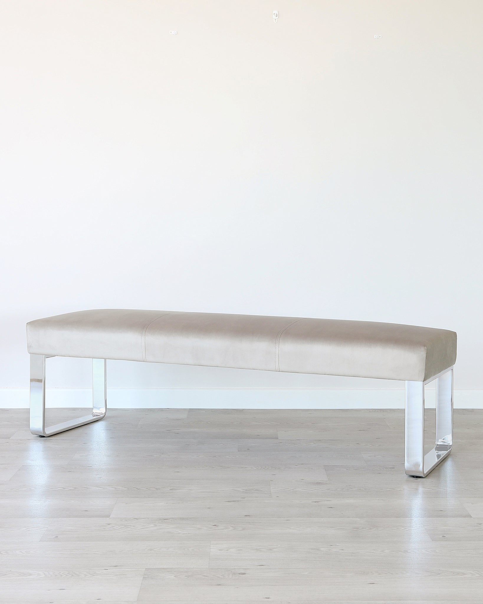 Ophelia 3 Seater Champagne Velvet & Chrome Bench Without Backrest