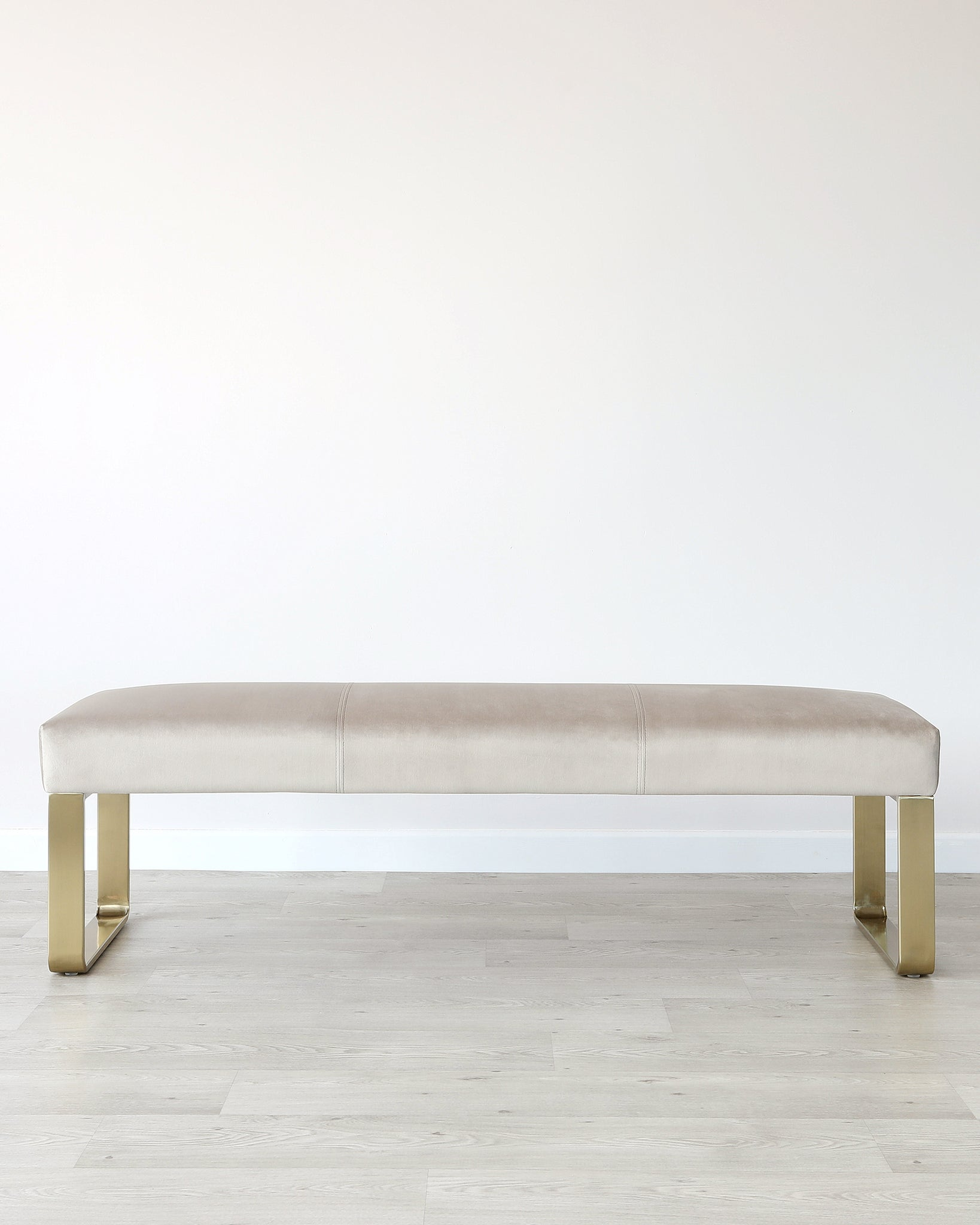 Ophelia 3 Seater Champagne & Brass Velvet Bench Without Backrest