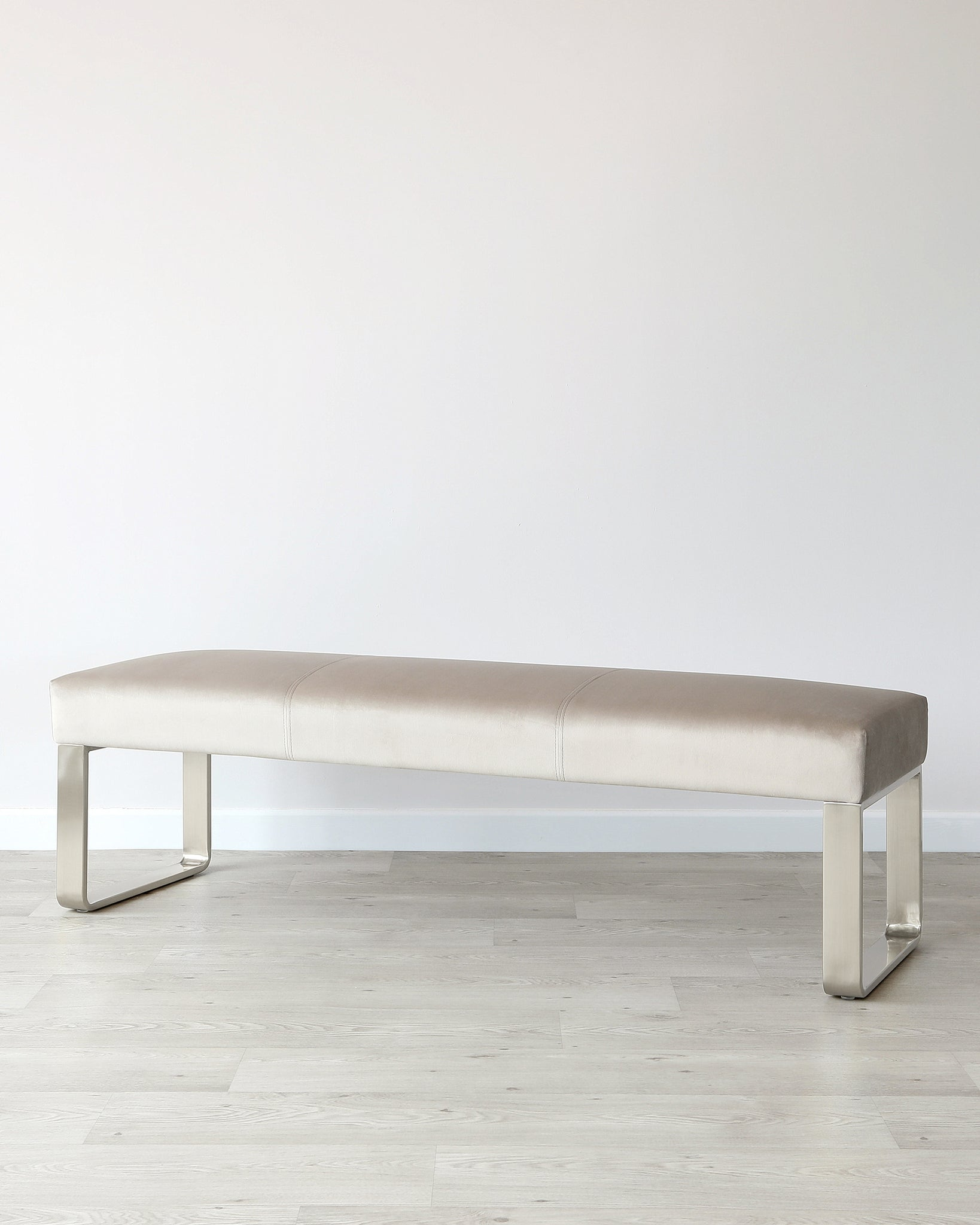 Ophelia 3 Seater Champagne Velvet & Stainless Steel Bench Without Backrest