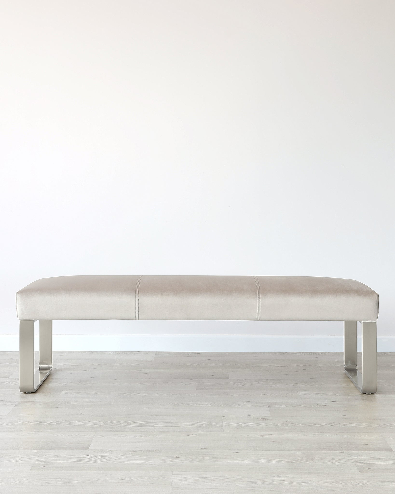 Ophelia 3 Seater Champagne & Stainless-steel-velvet Bench Without Backrest
