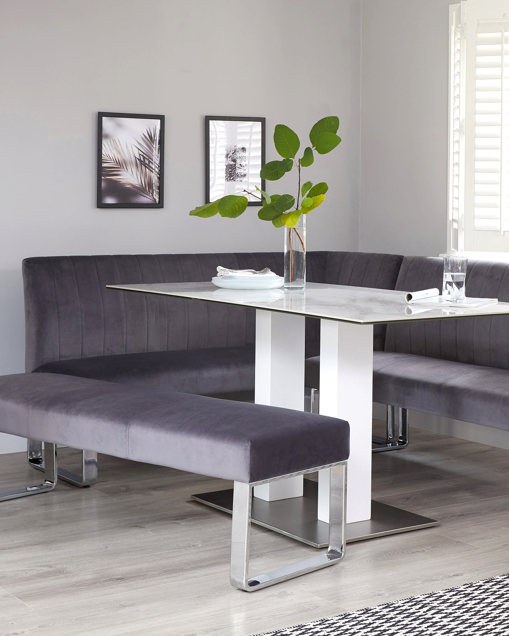 Ophelia 3 Seater Dark Grey Velvet And Chrome Bench Without Backrest