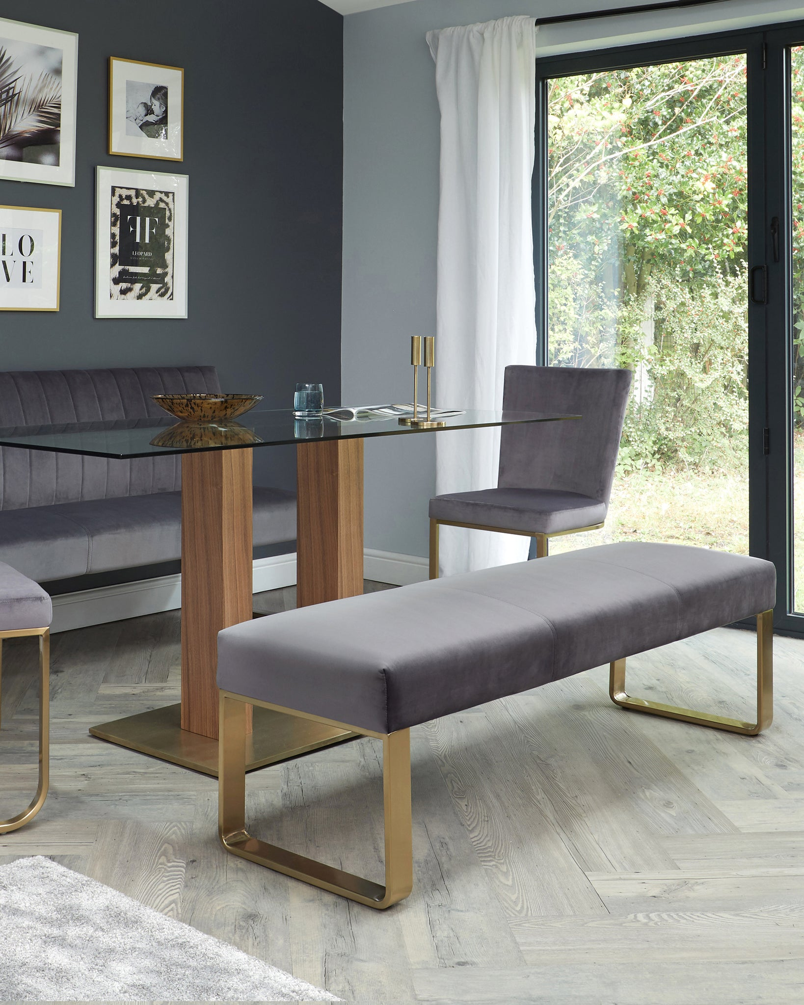 Ophelia 3 Seater Dark Grey Velvet And Brushed Brass Bench Without Backrest