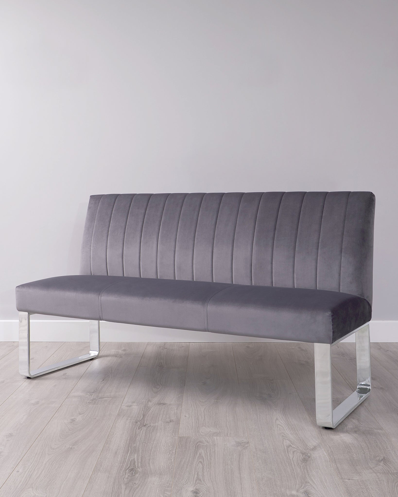 Ophelia 3 Seater Dark Grey Velvet And Chrome Bench With Backrest