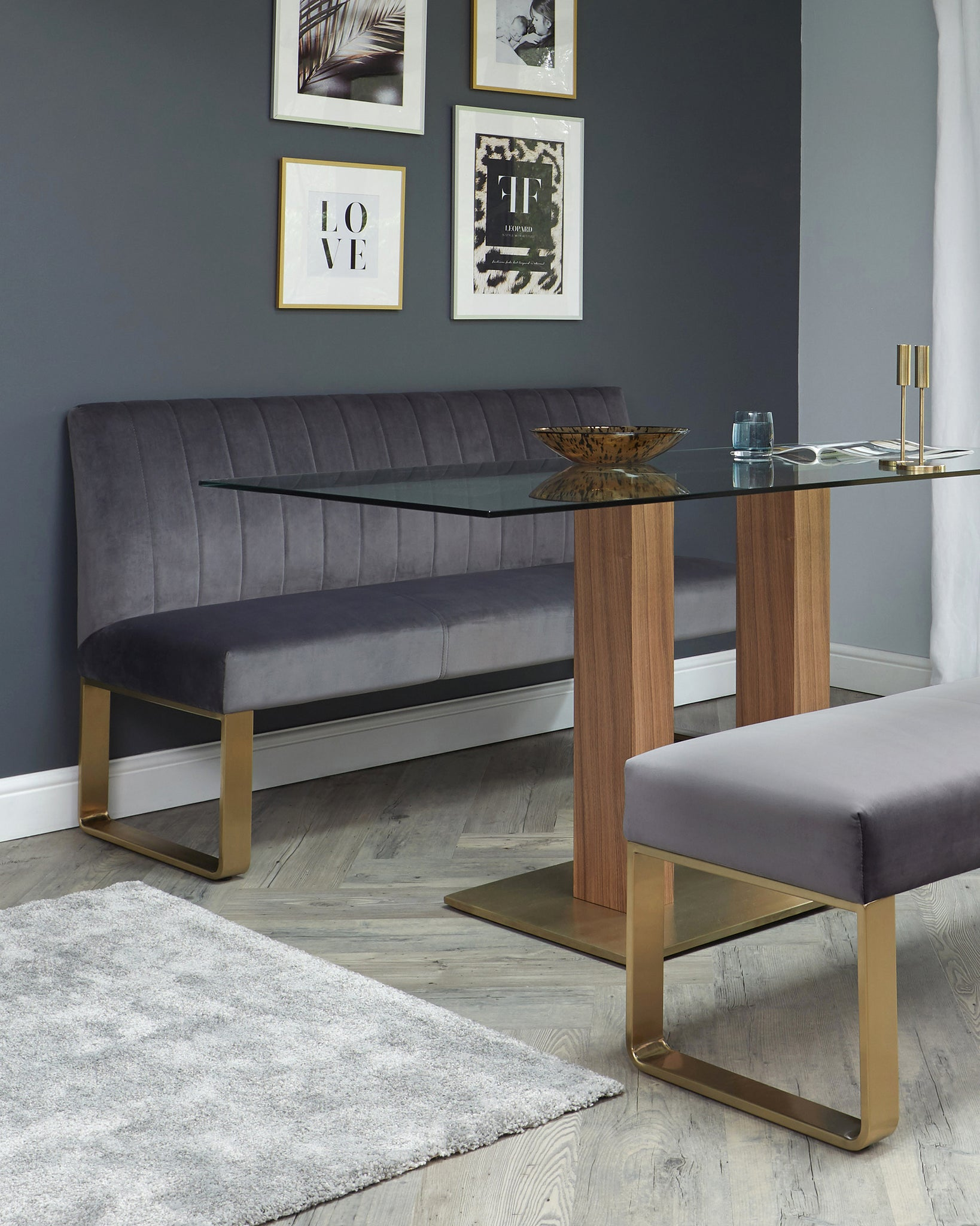 Mia Table With Ophelia Velvet Dining Bench Set