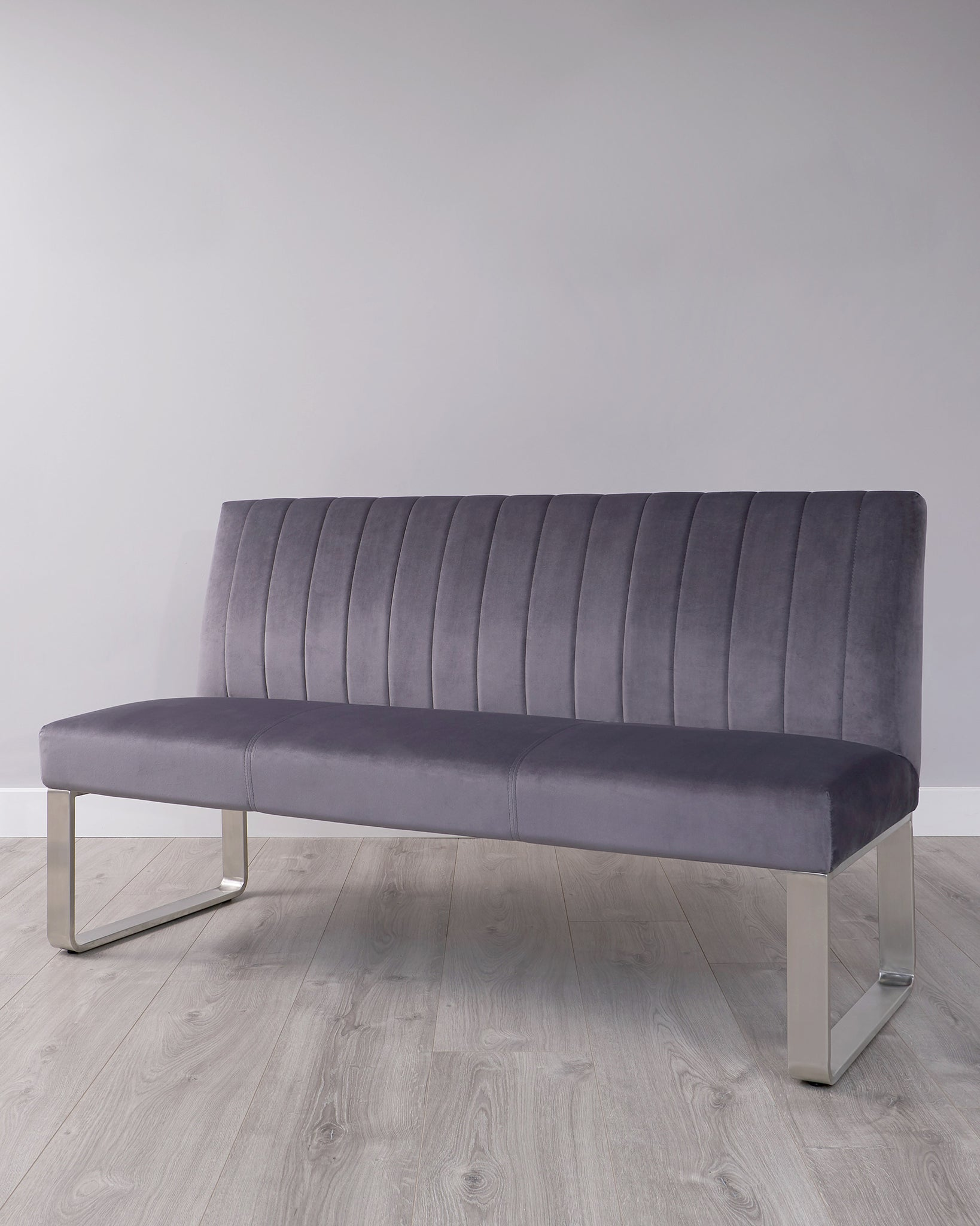 Ophelia 3 Seater Dark Grey Velvet And Stainless Steel Bench With Backrest