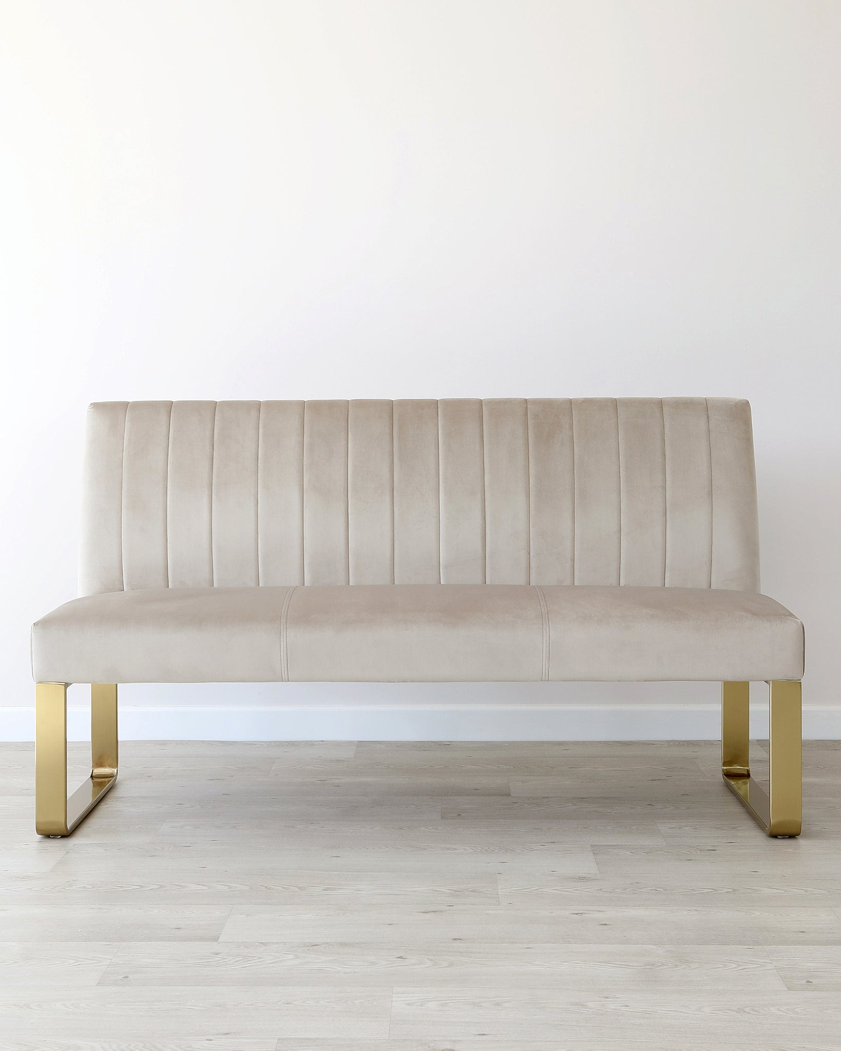 Ophelia 3 Seater Champagne Velvet & Brass Bench With Backrest