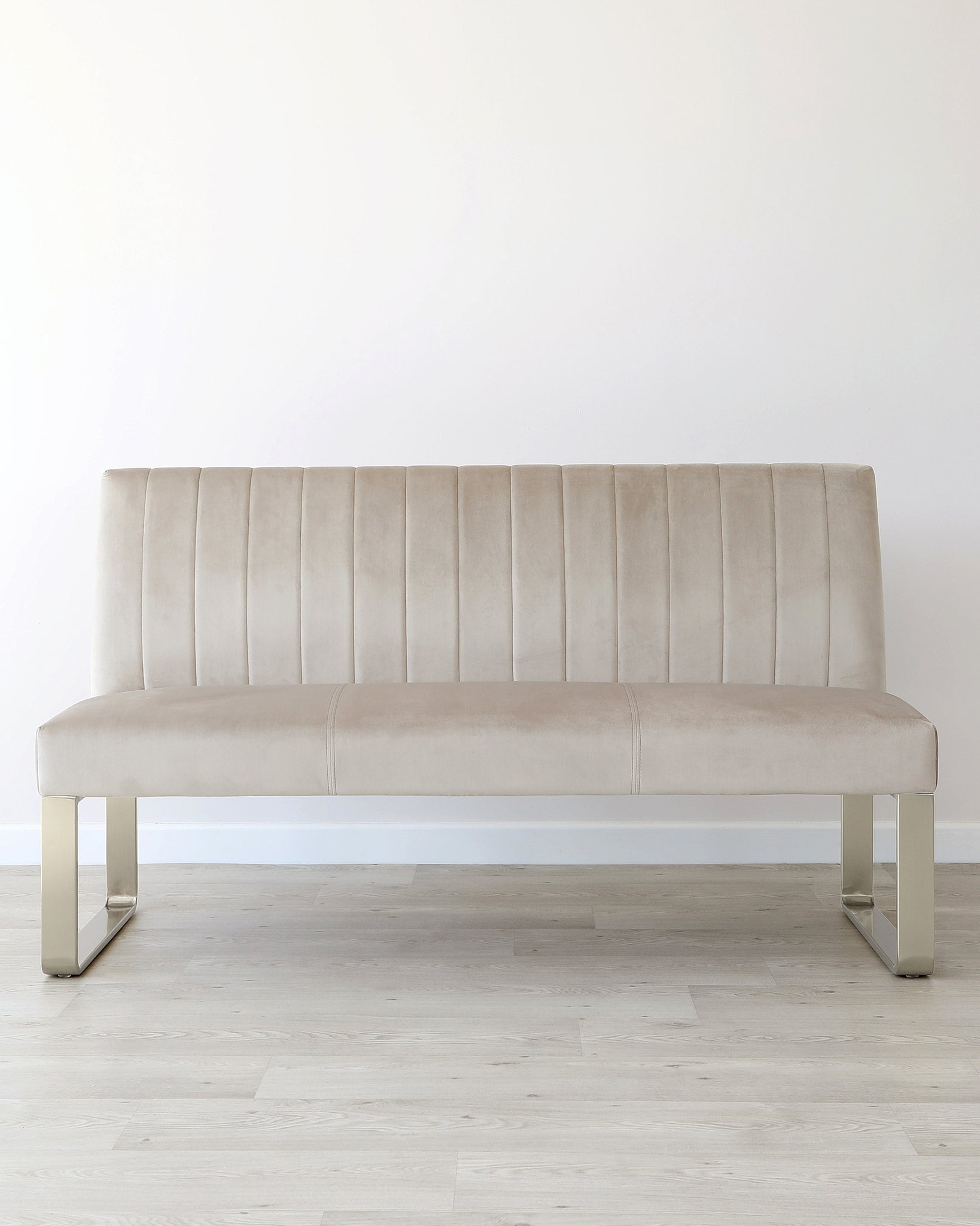 Ophelia 3 Seater Champagne Velvet & Stainless Steel Bench With Backrest