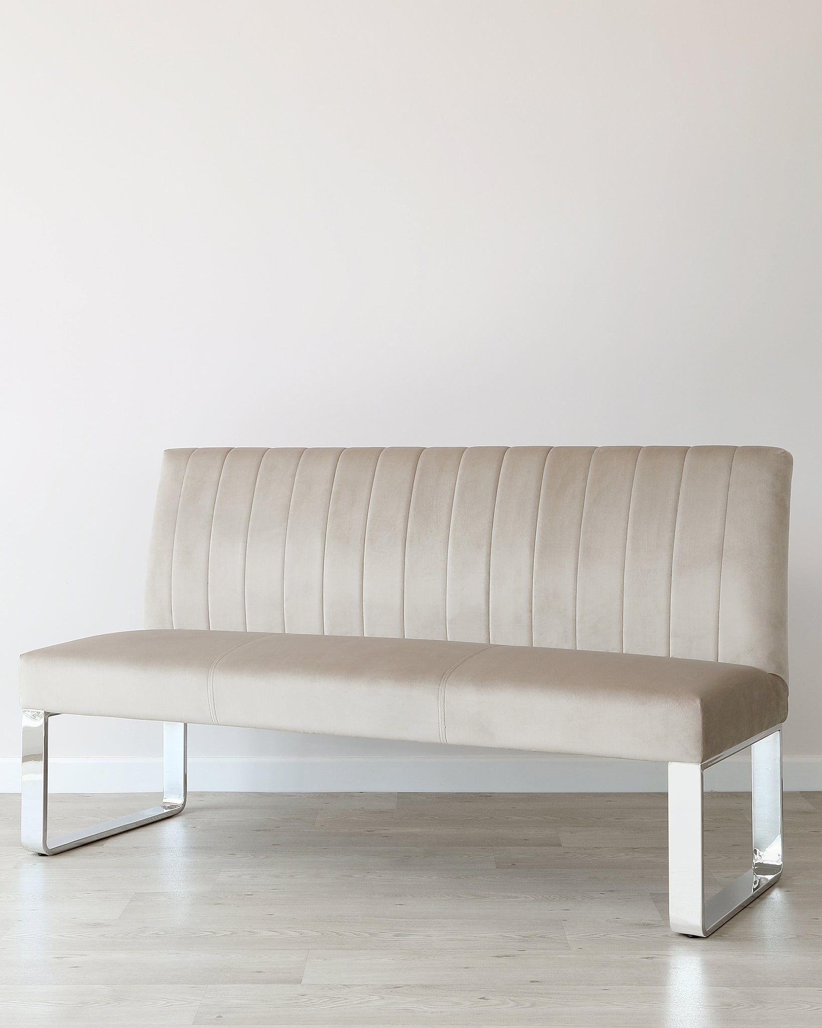 Ophelia 3 Seater Champagne Velvet & Chrome Bench With Backrest