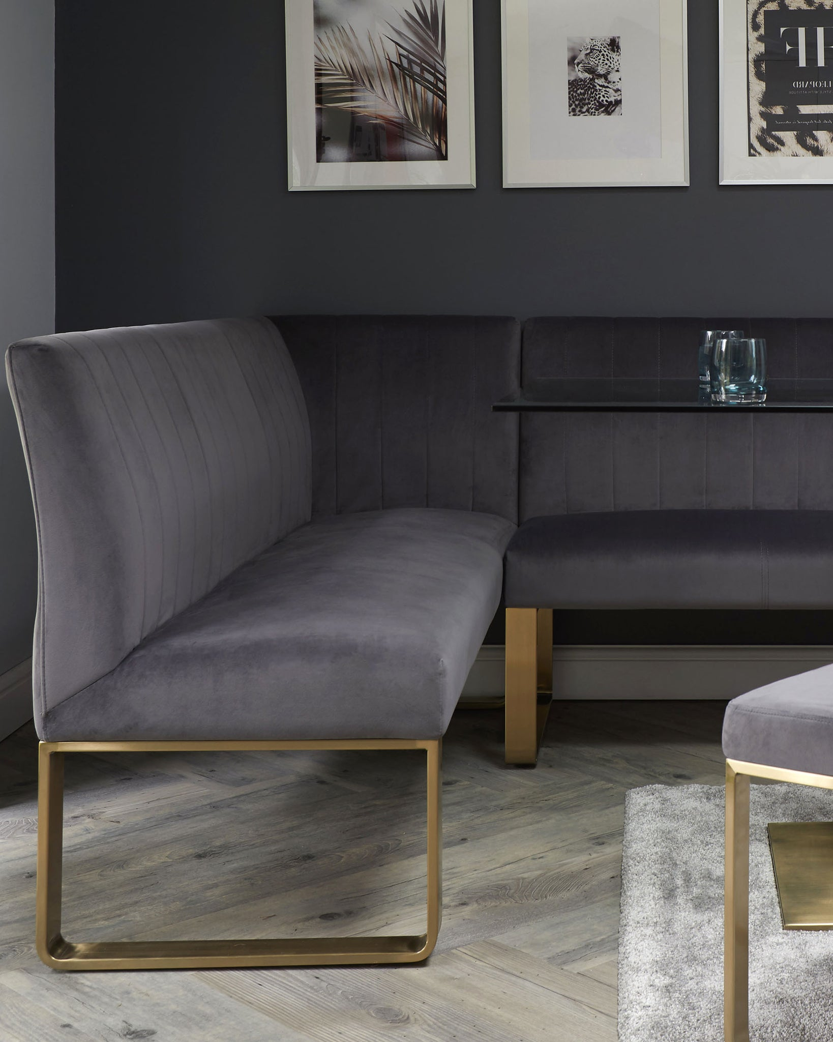 Ophelia Right Hand 5 Seater Dark Grey Velvet And Brushed Brass Corner Bench
