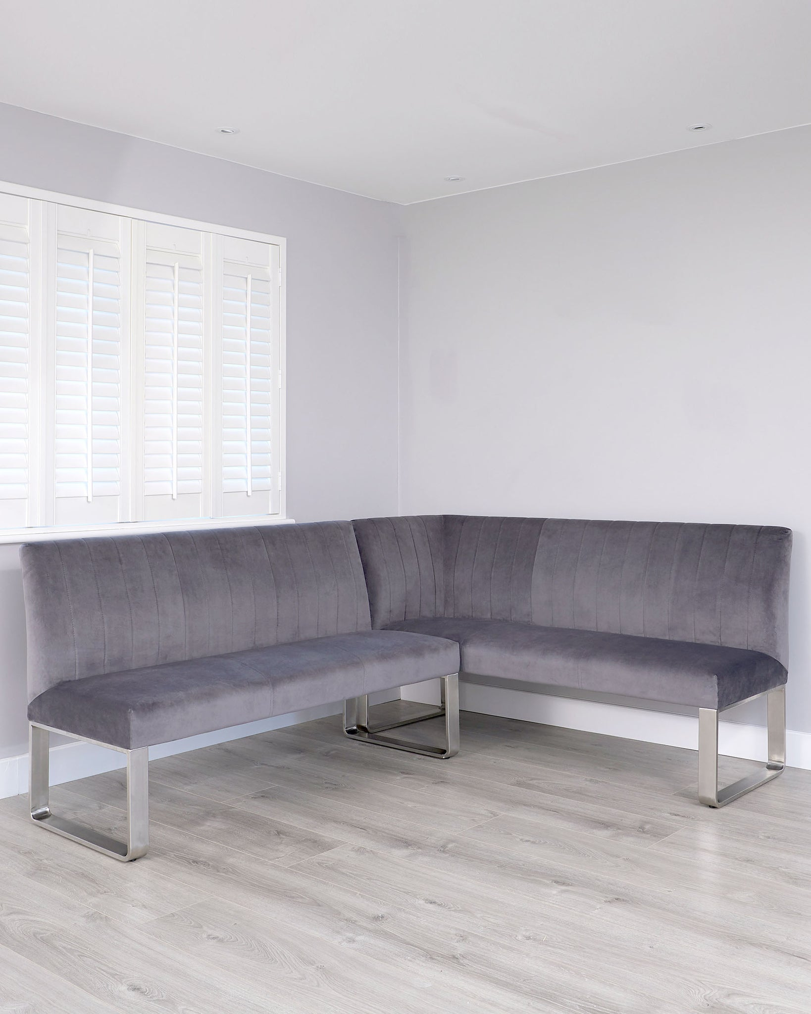 Ophelia Left Hand 5 Seater Dark Grey Velvet And Stainless Steel Corner Bench
