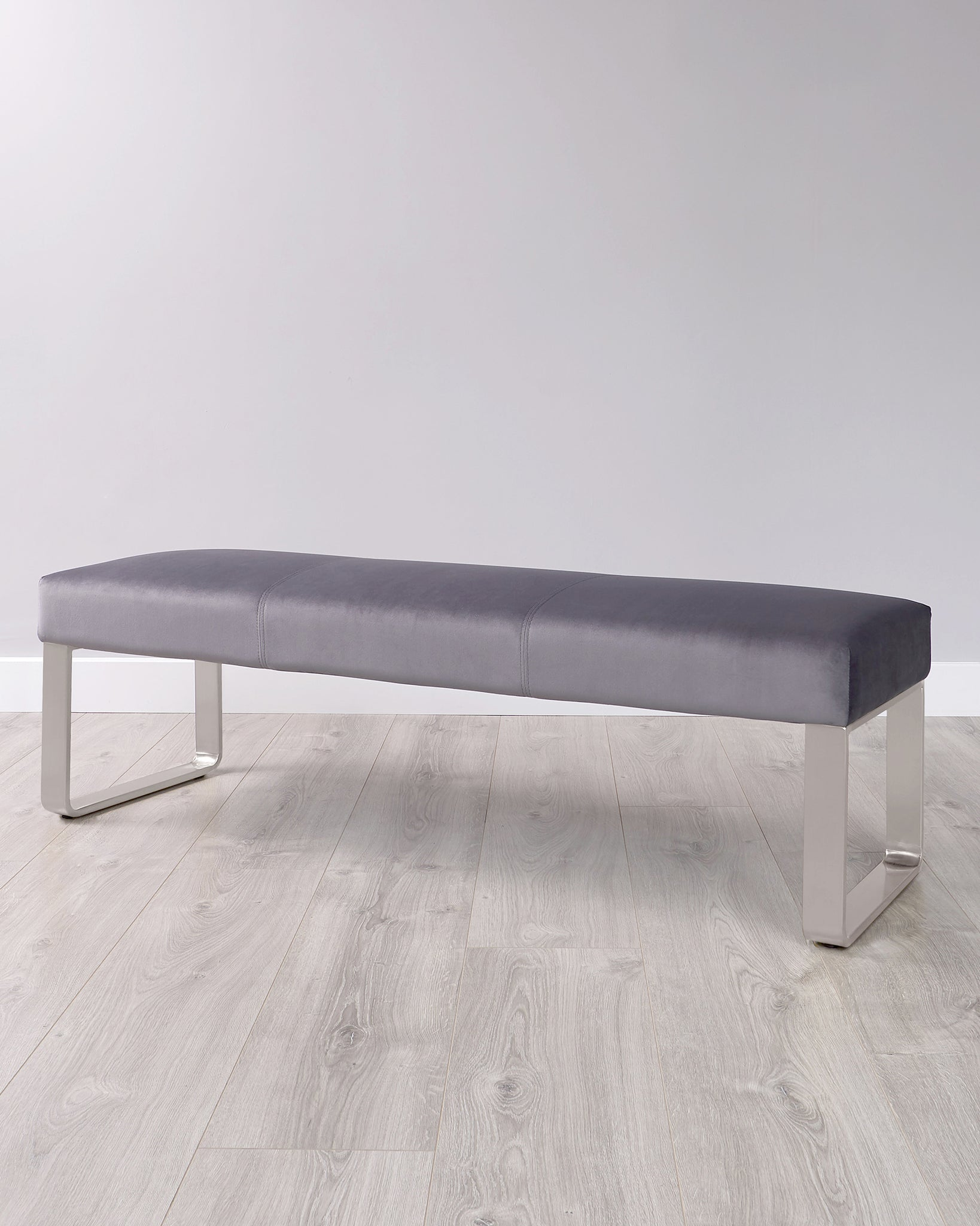 Ophelia 3 Seater Dark Grey Velvet Stainless Steel Bench Without Backrest